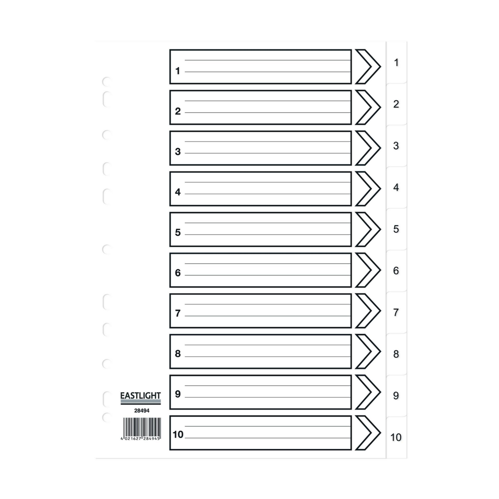 Concord Dividers White Polypropolyne 1-10 (Pack of 5)