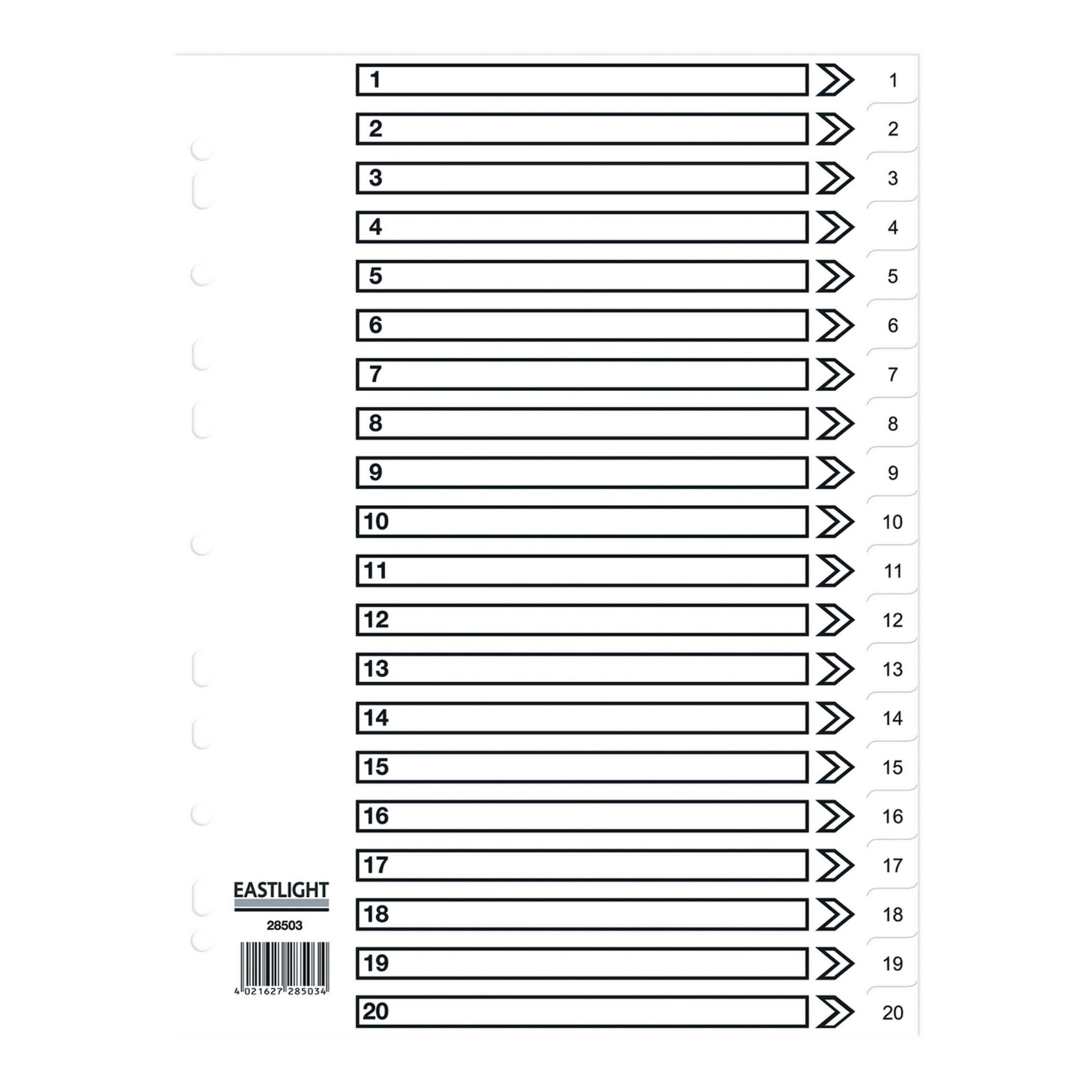 Concord Dividers Whte Polypropolyne1-20 Pack of 10