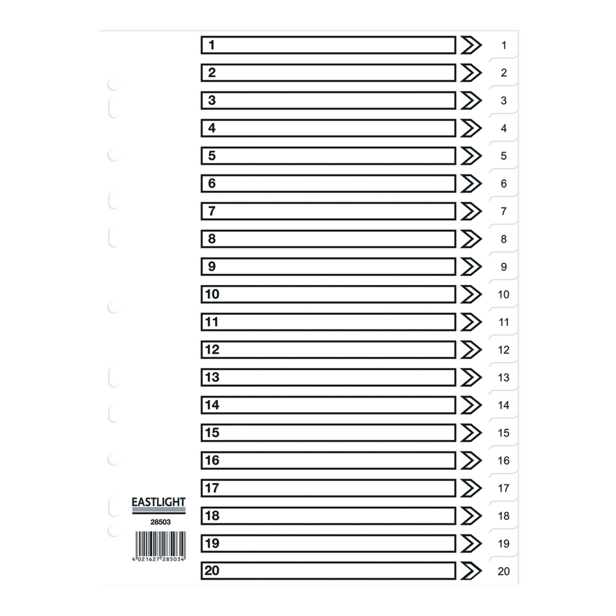 Concord Dividers Whitee Polypropolyne1-20 (Pack of 10)