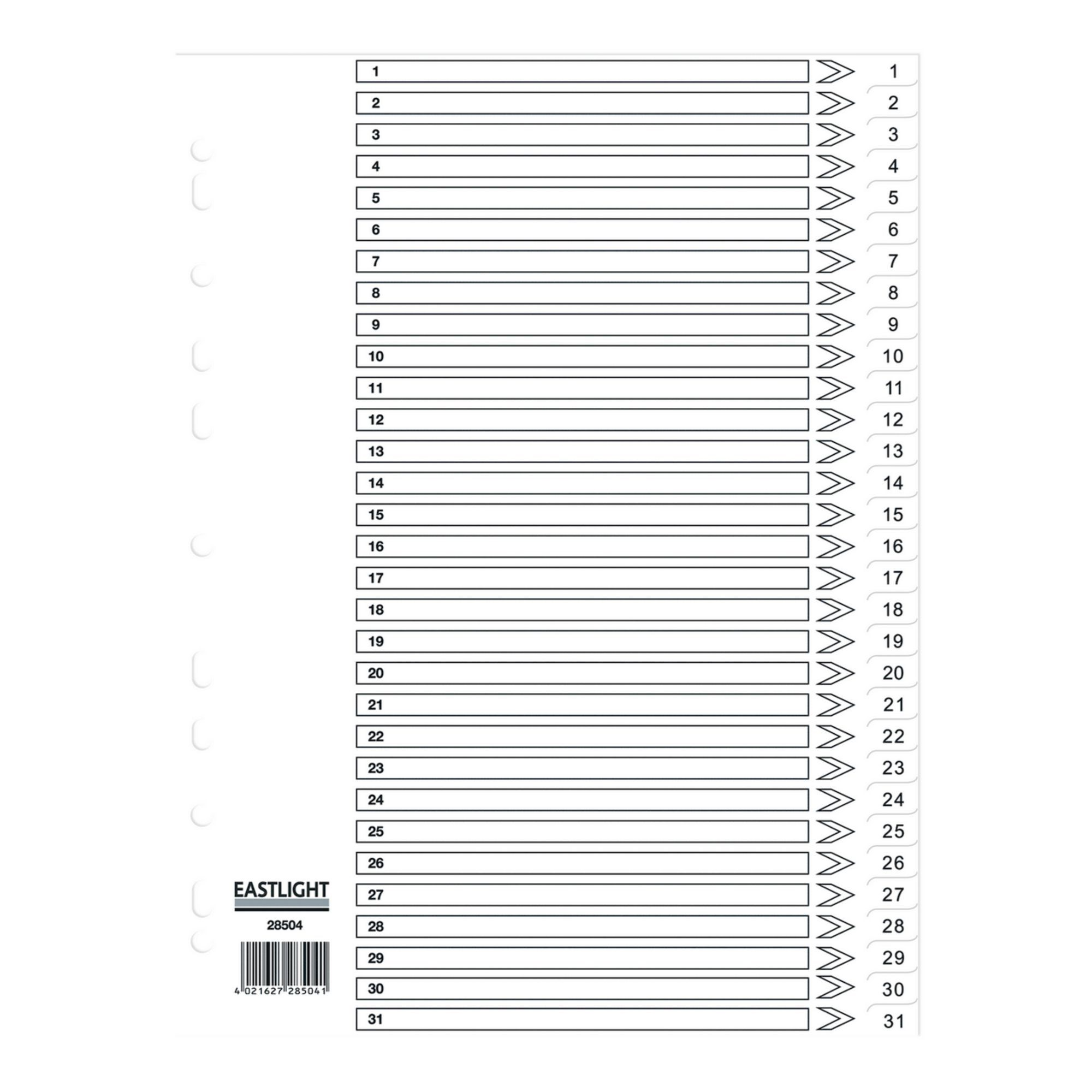 Concord Dividers White Polypropolyne 1-31 (Pack of 10)