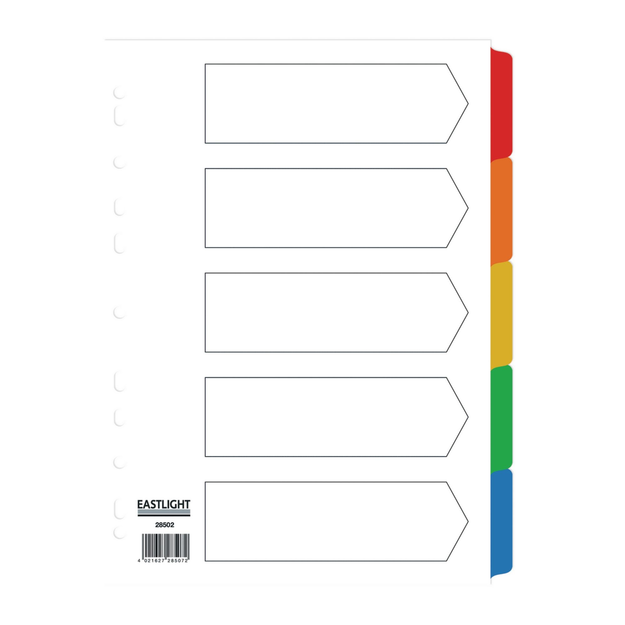 Eastlight A4 Mylar MultiColoured Dividers 5-Part Europunched