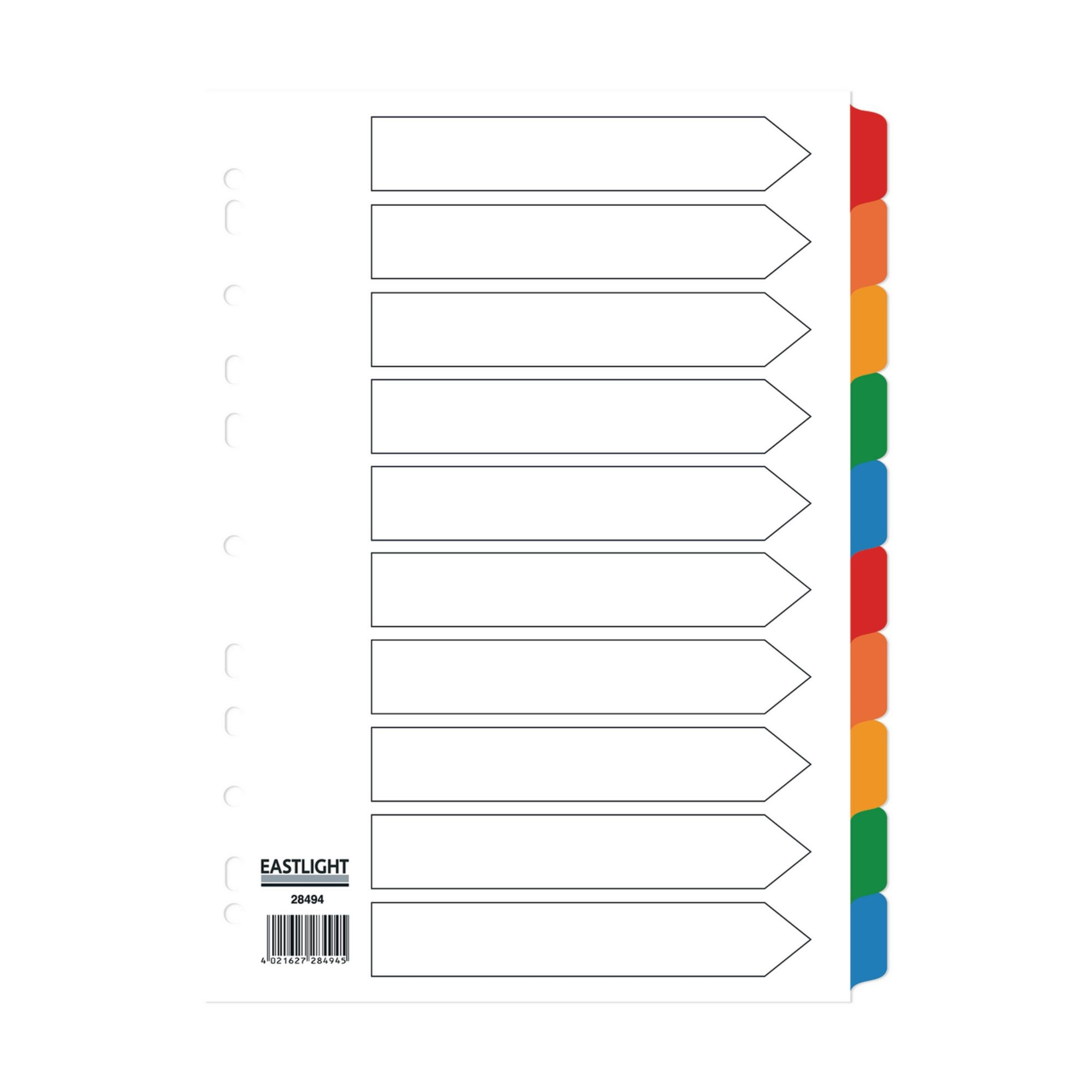 Concord Divider 10-Part A4 160gsm Multicoloured (Pack of 5)