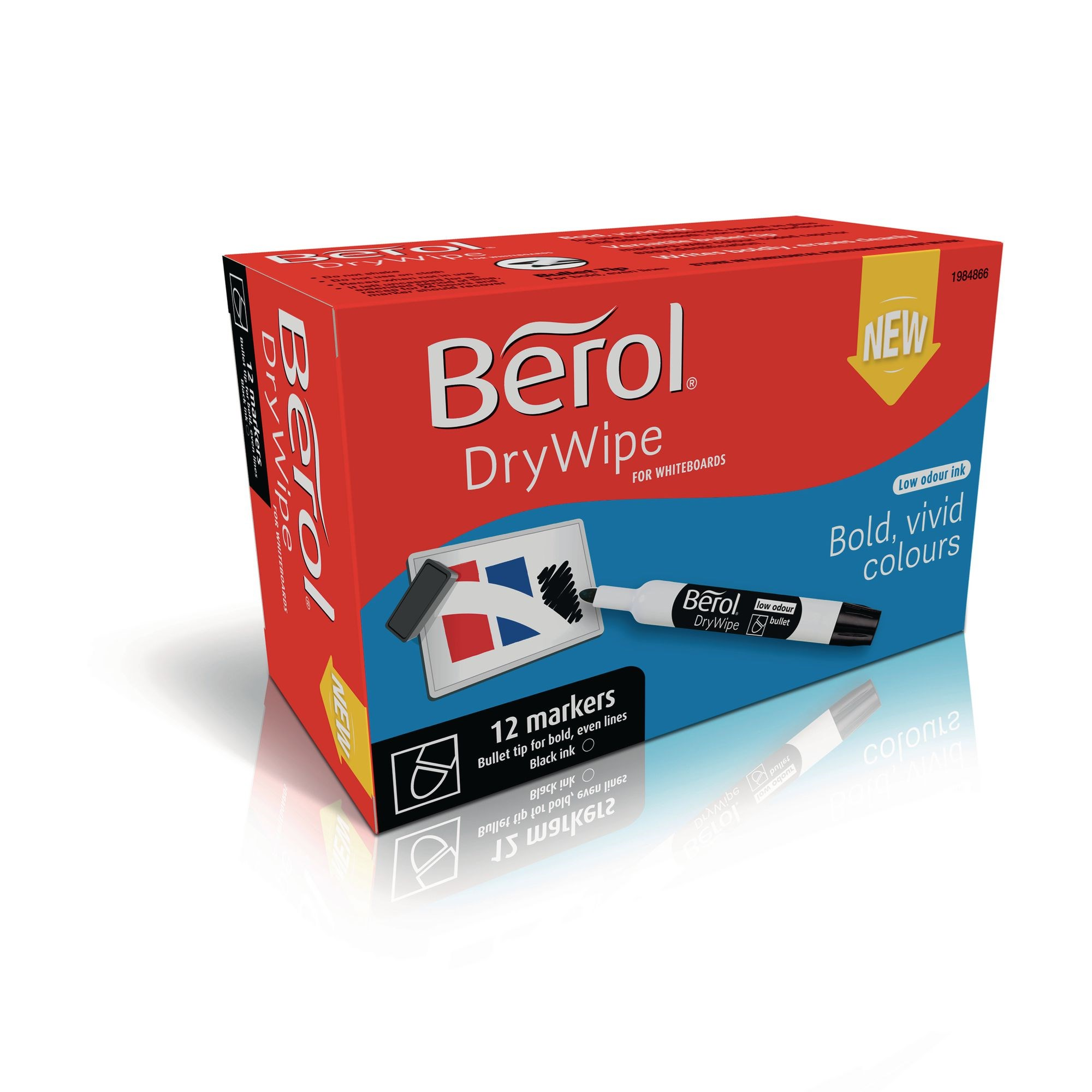 Berol Whiteboard Marker Black, Bullet Tip - Pack of 12