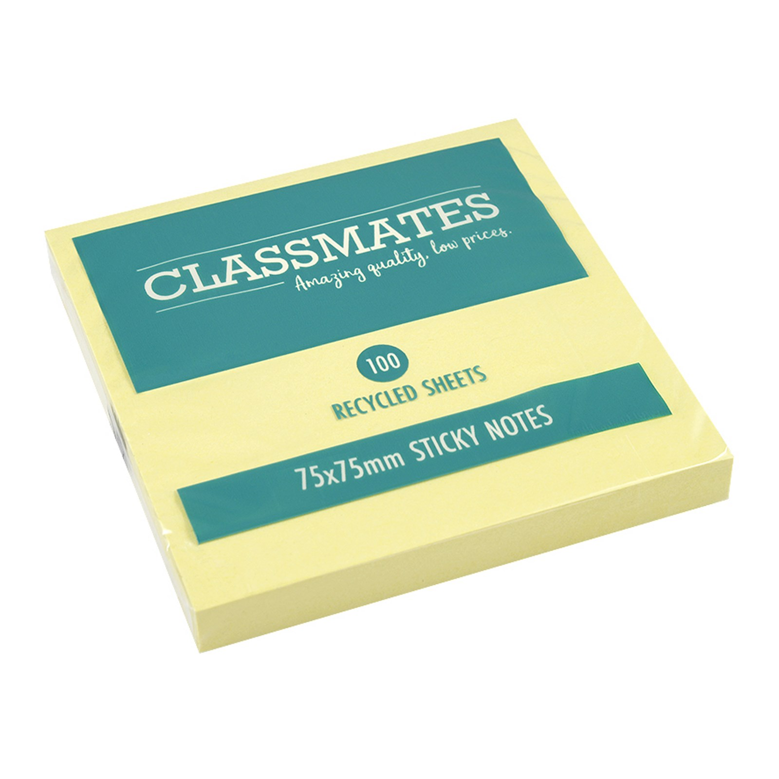 Classmates Recycled Sticky Notes Yellow 75x75mm - Pack of 12