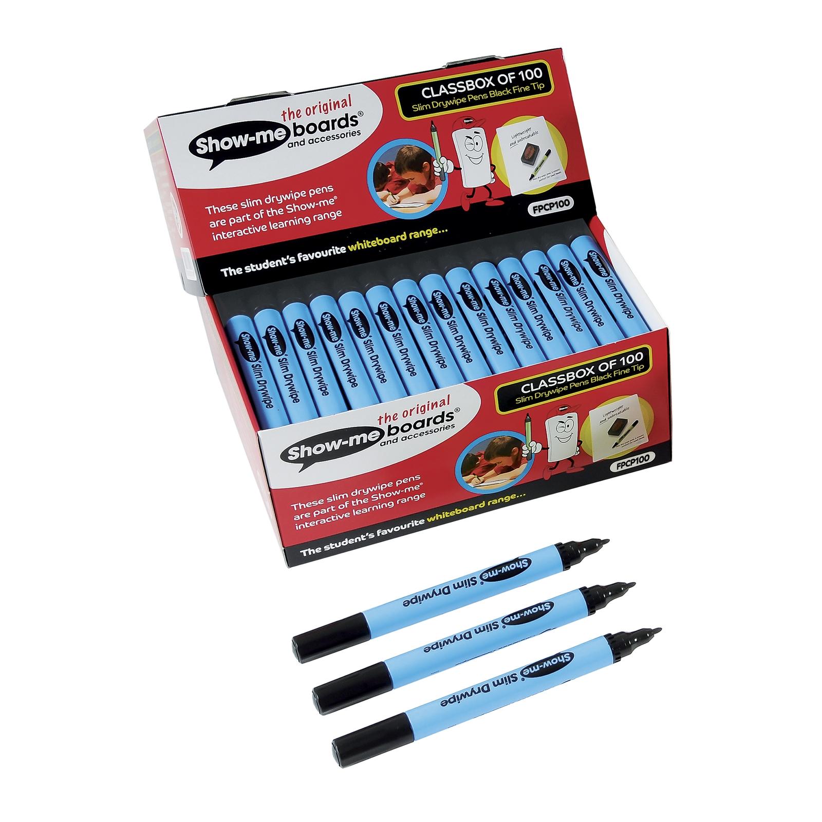 Show Me Whiteboard Marker Pens Black Fine Tip Pack Of 100