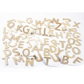 Plain Wood Letters Uppercase Pack of 60
