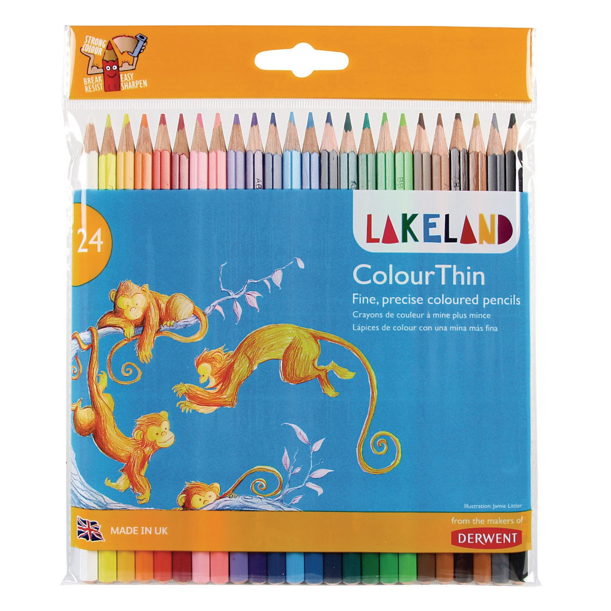 Lakeland Colourthin Fine Coloured Pencils - Assorted - Pack of 24