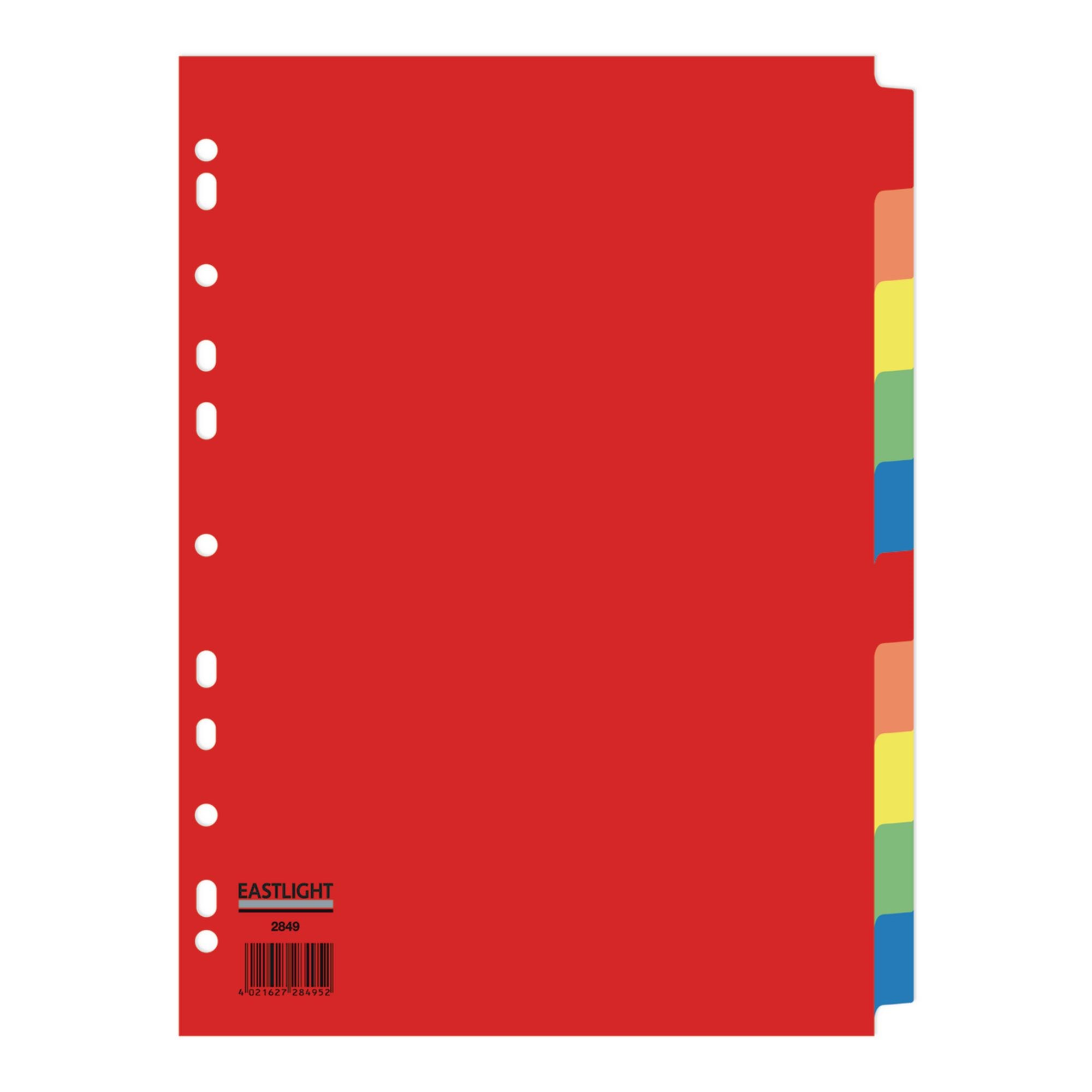 Eastlight Bright Colours 10 Part Dividers (Pack of 10)