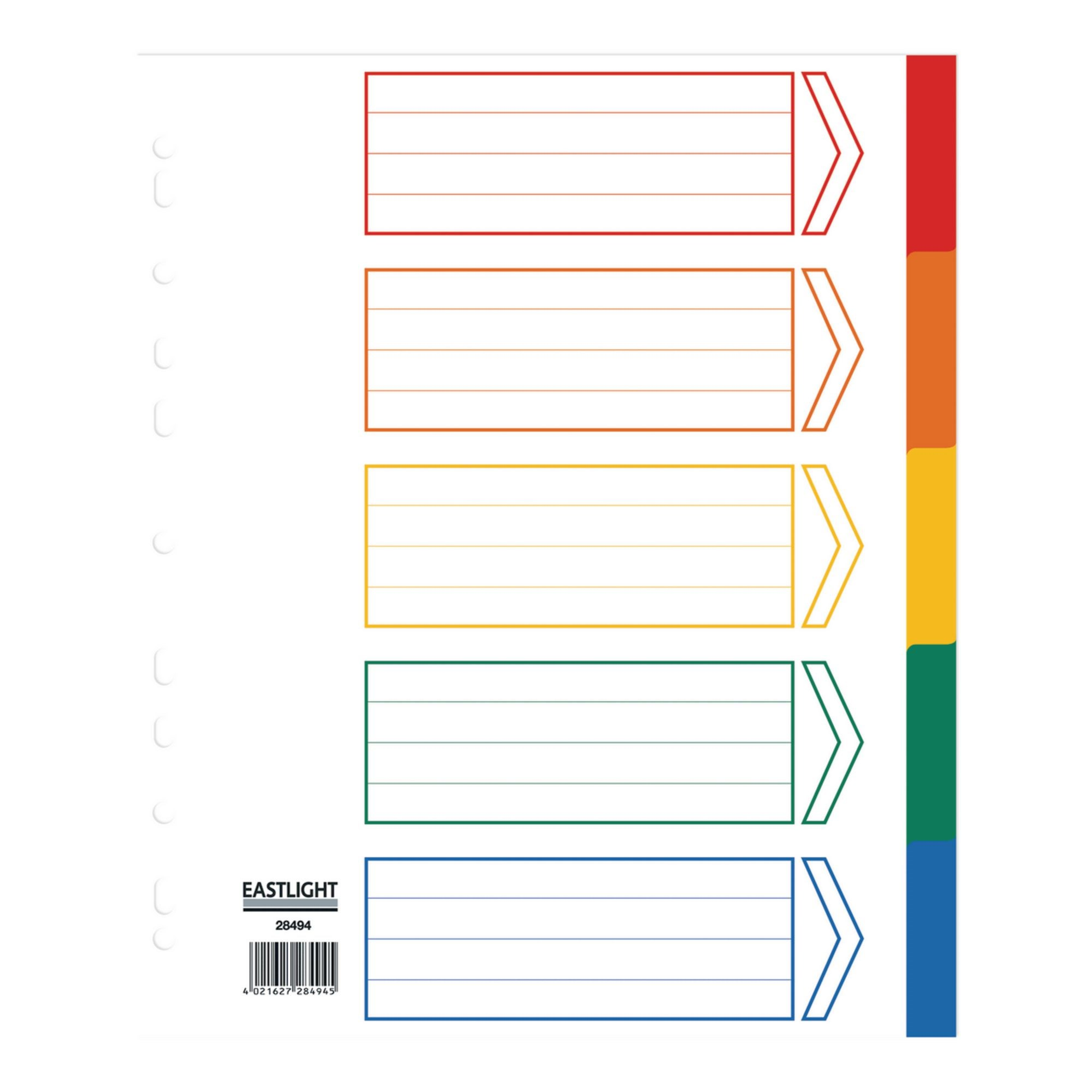 Concord Index 5 Part A4 Extra Wide Polypropylene Multicoloured (Pack of 5)