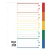 Index Dividers Extra Wide Colour 5 Part Pack of 10