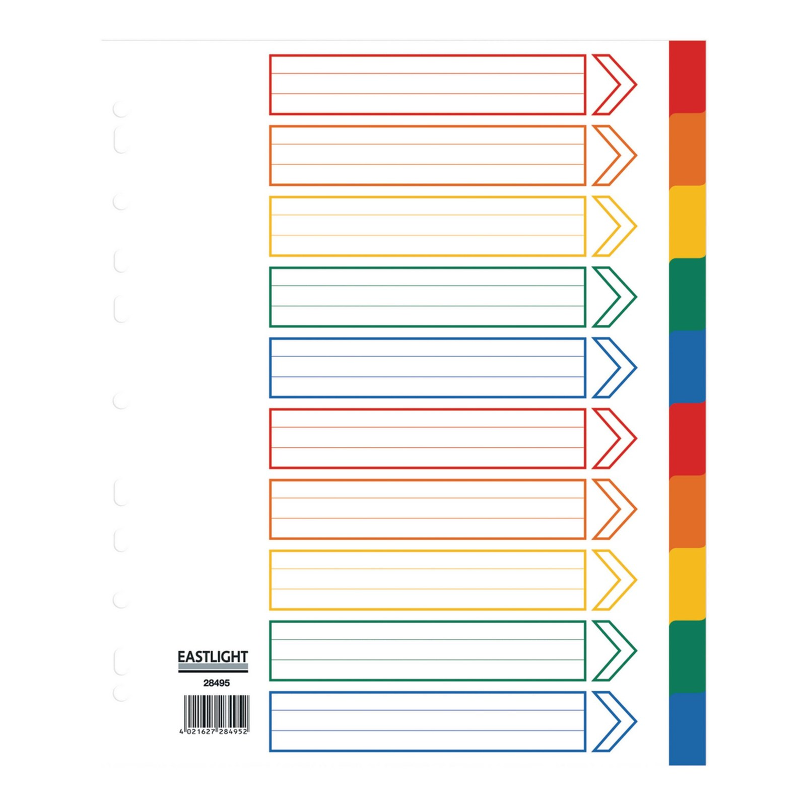 A4 Extra Wide Polypropylene Dividers 10-part Europunched