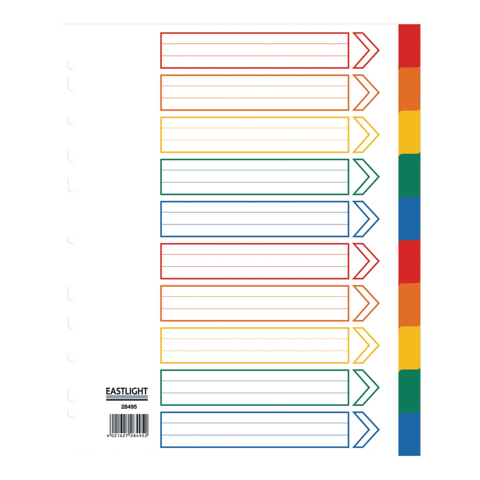 Concord Index 10 Part A4 Extra Wide Polypropylene Multicoloured (Pack of 10)