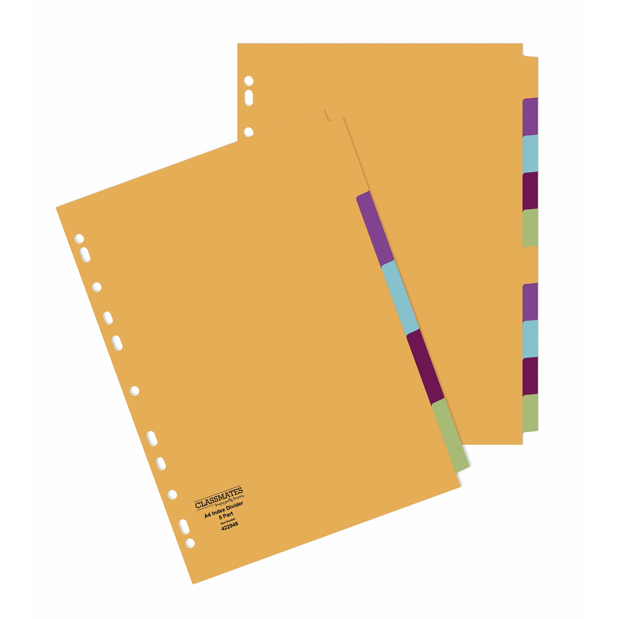 Classmates A4 Index Dividers 5 Part Multi-Hole Punched (Pack of 50)