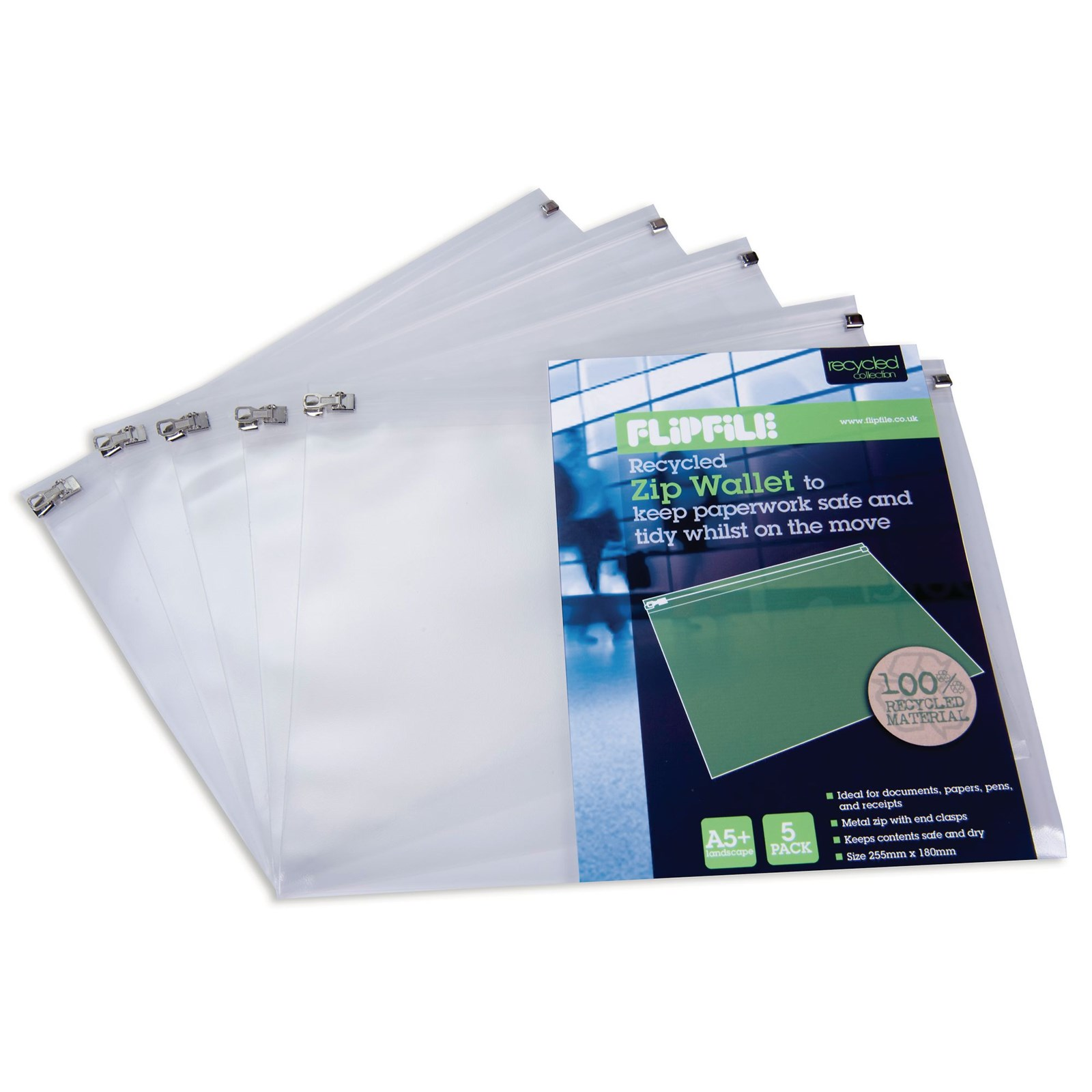 Flipfile Recycled Zip Wallet A4+ Clear - Pack of 5