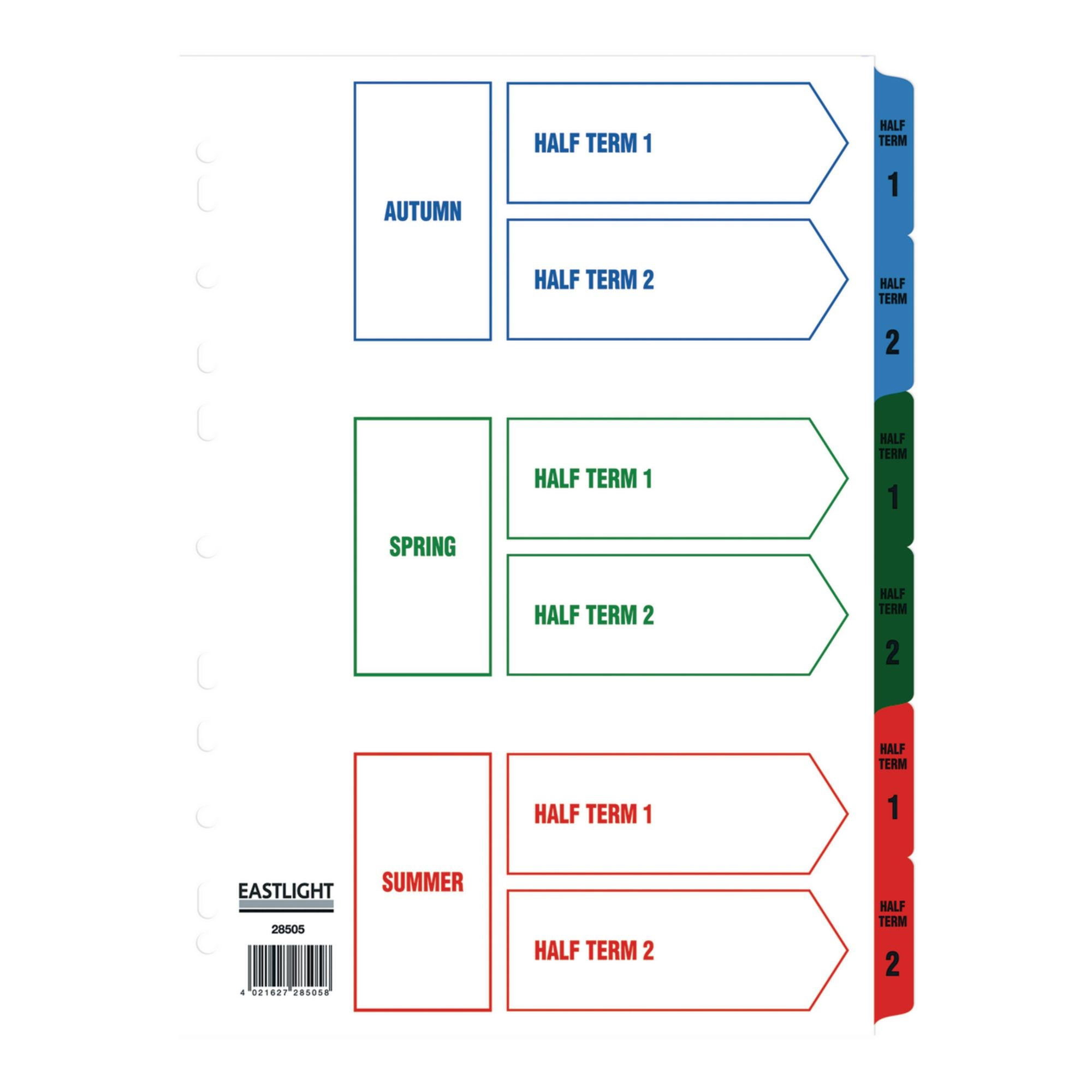 Eastlight A4 Term Time Dividers Term time Europunched