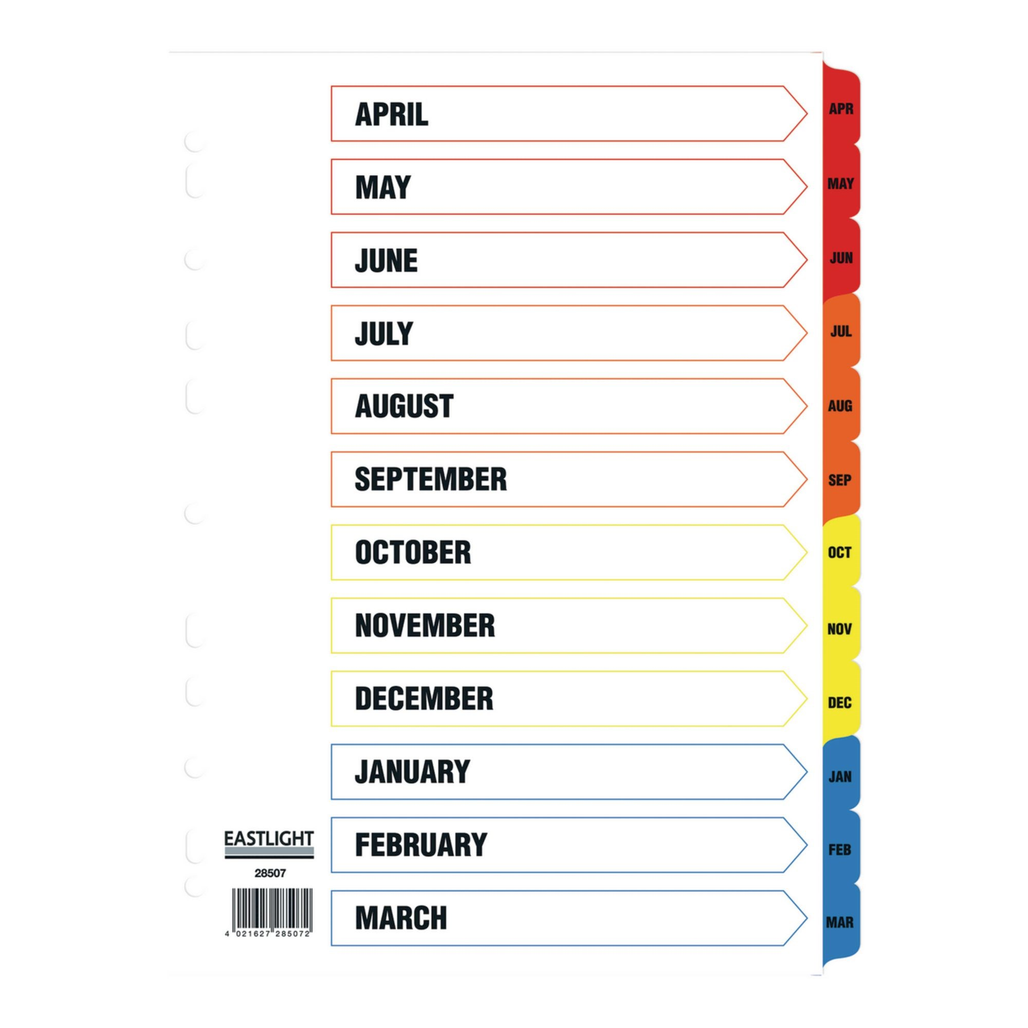 Eastlight April-March Fiscal Year Dividers (Pack of 5)