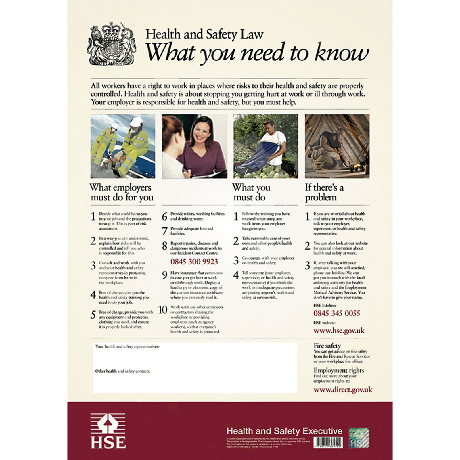 Health and Safety Law Poster - 595 x 415mm PVC
