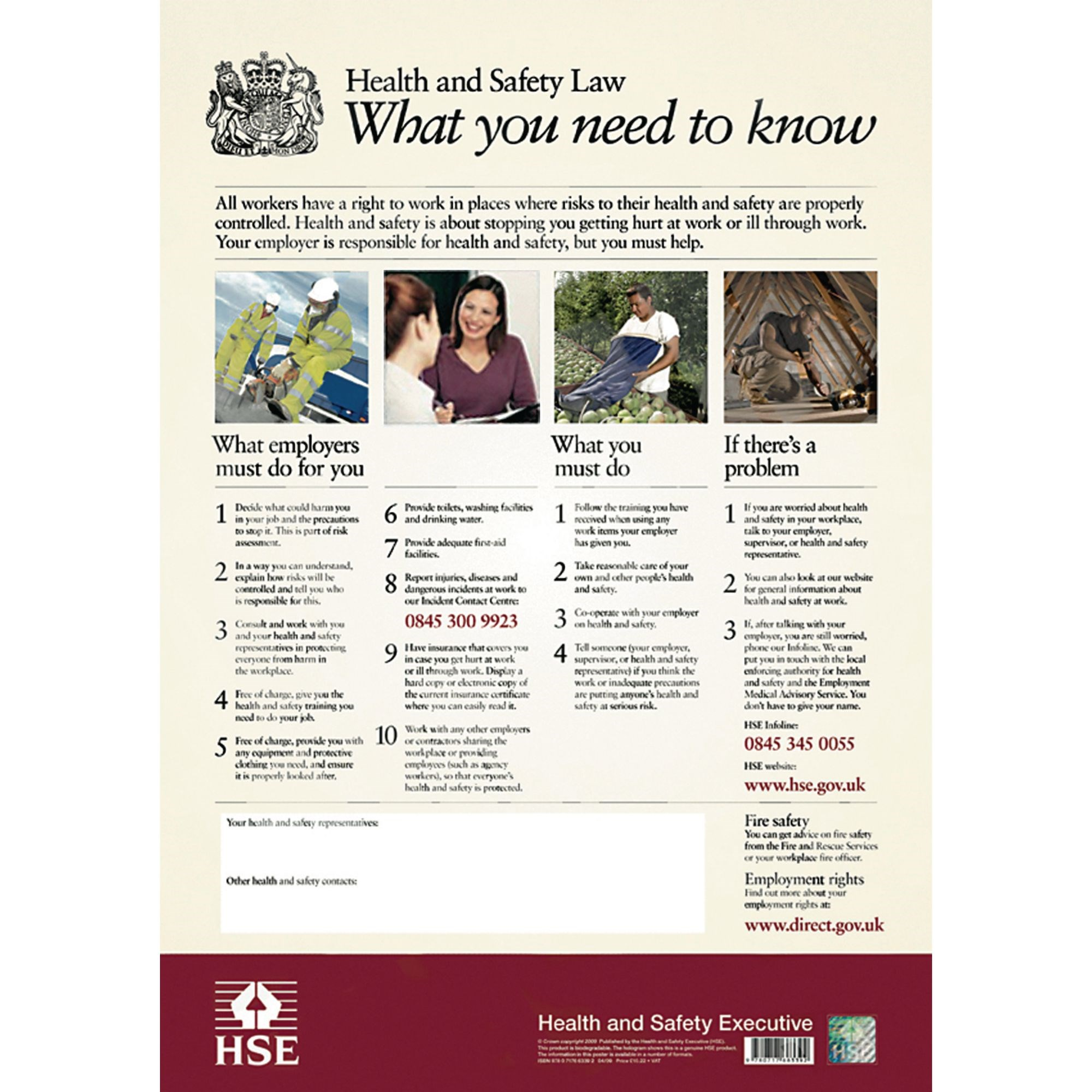 Health and Safety Law Poster 595 x 415mm PVC