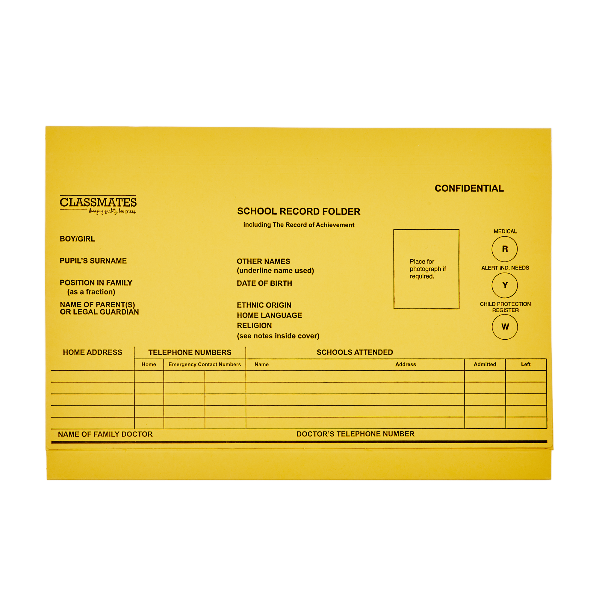 Classmates Record Folder A4 - Yellow - Pack of 10 - G483814 | GLS  Educational Supplies