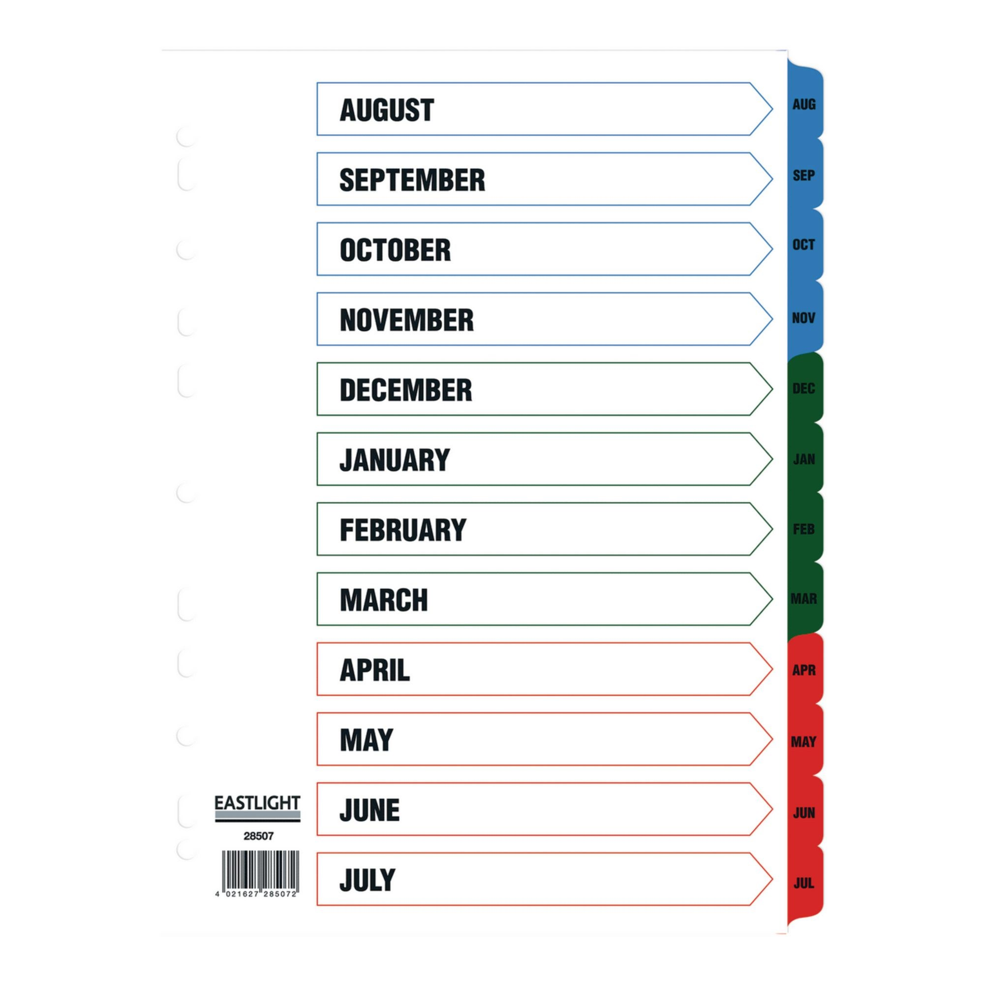 Eastlight A4 Academic Year Dividers Aug-Jul Europunched