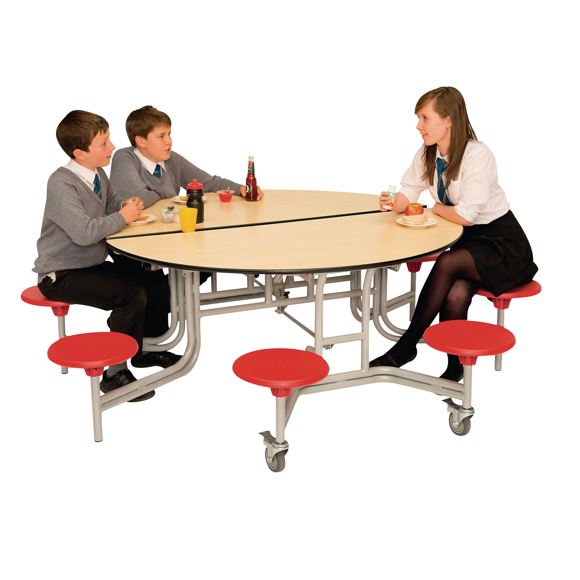 Spaceright Circular 8 Seater Secondary Table Grey Laminated Top Red Seat