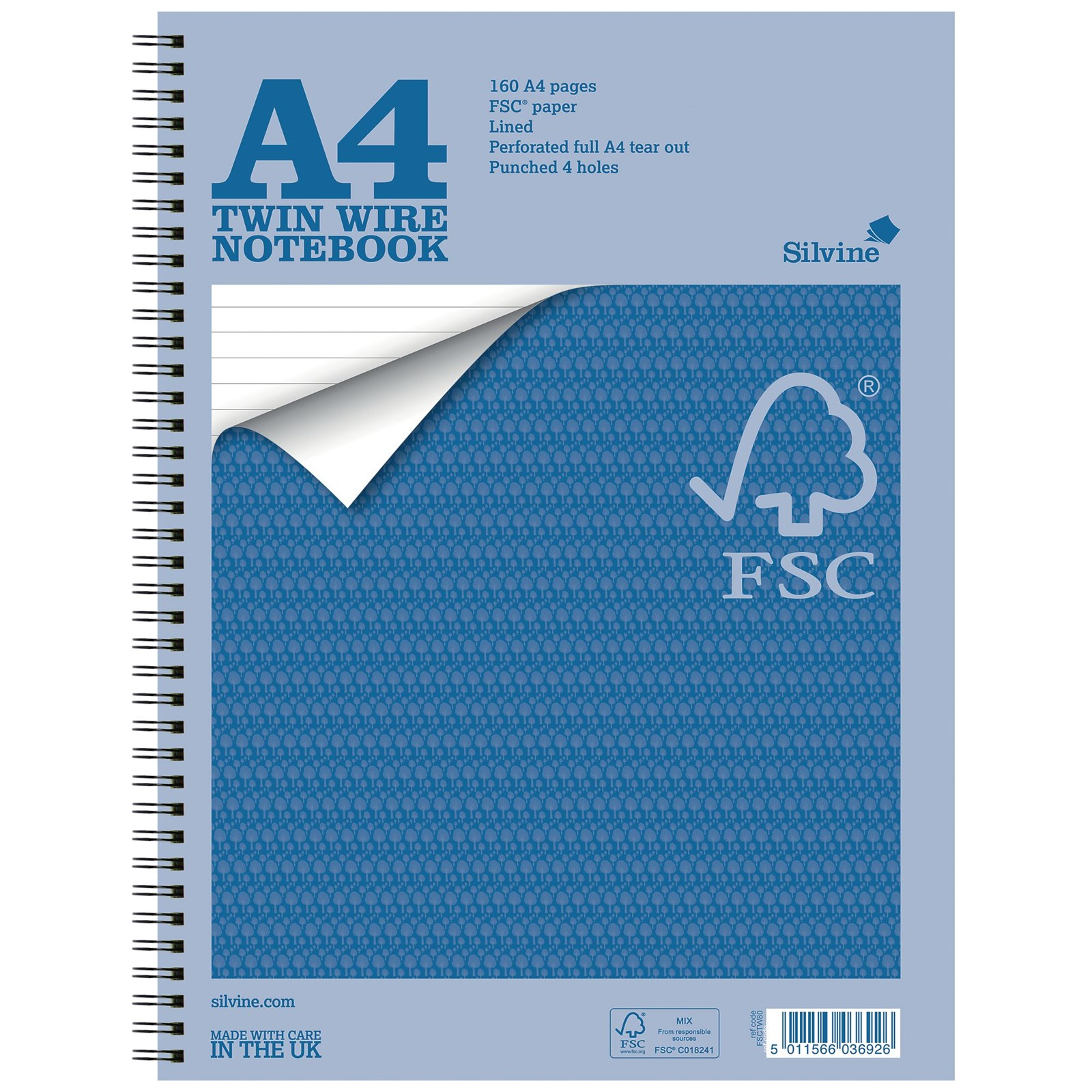 Silvine A4 160 Page Notebook Blue - Pack of 5 | Hope Education