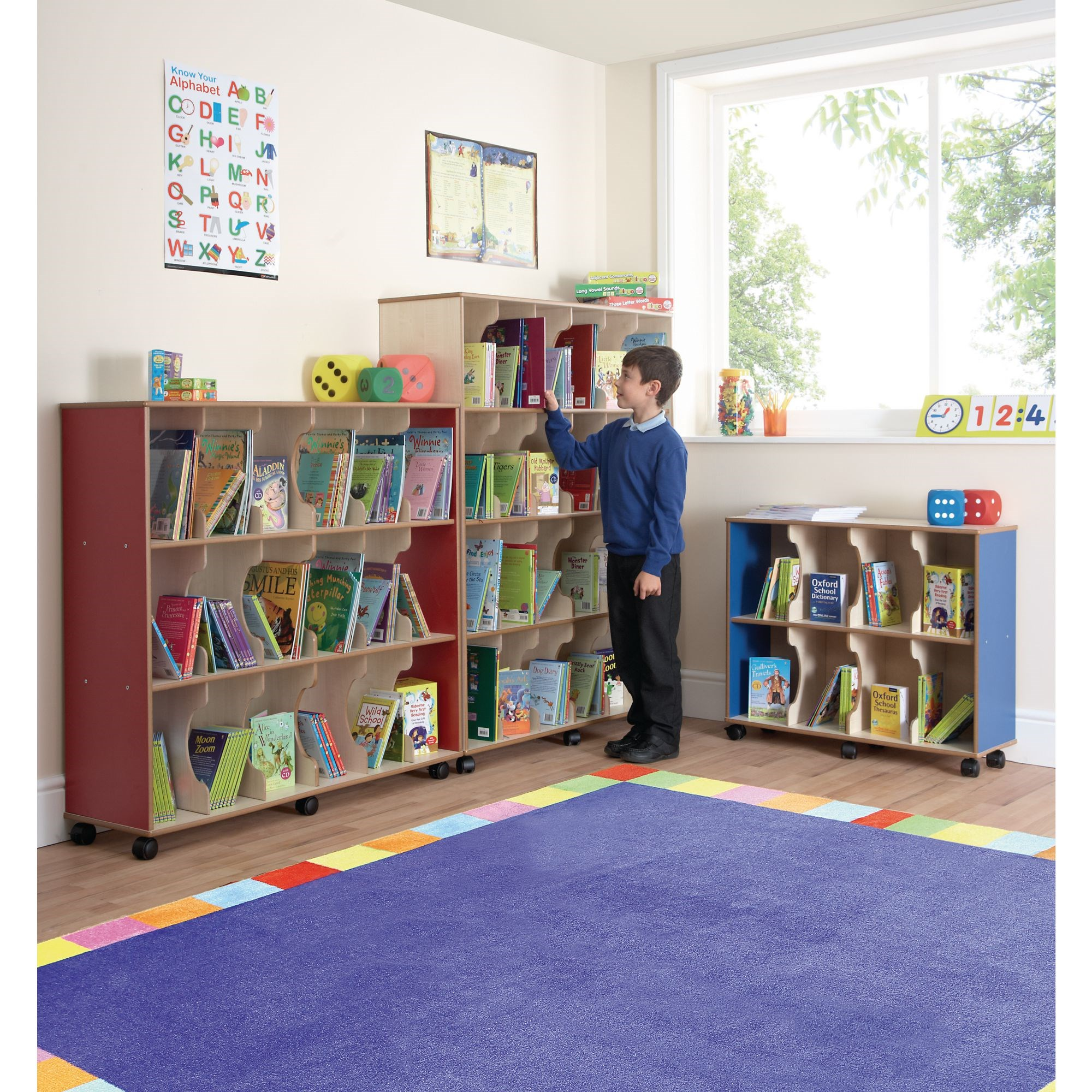 Low Level Childrens Bookcase Red Beech