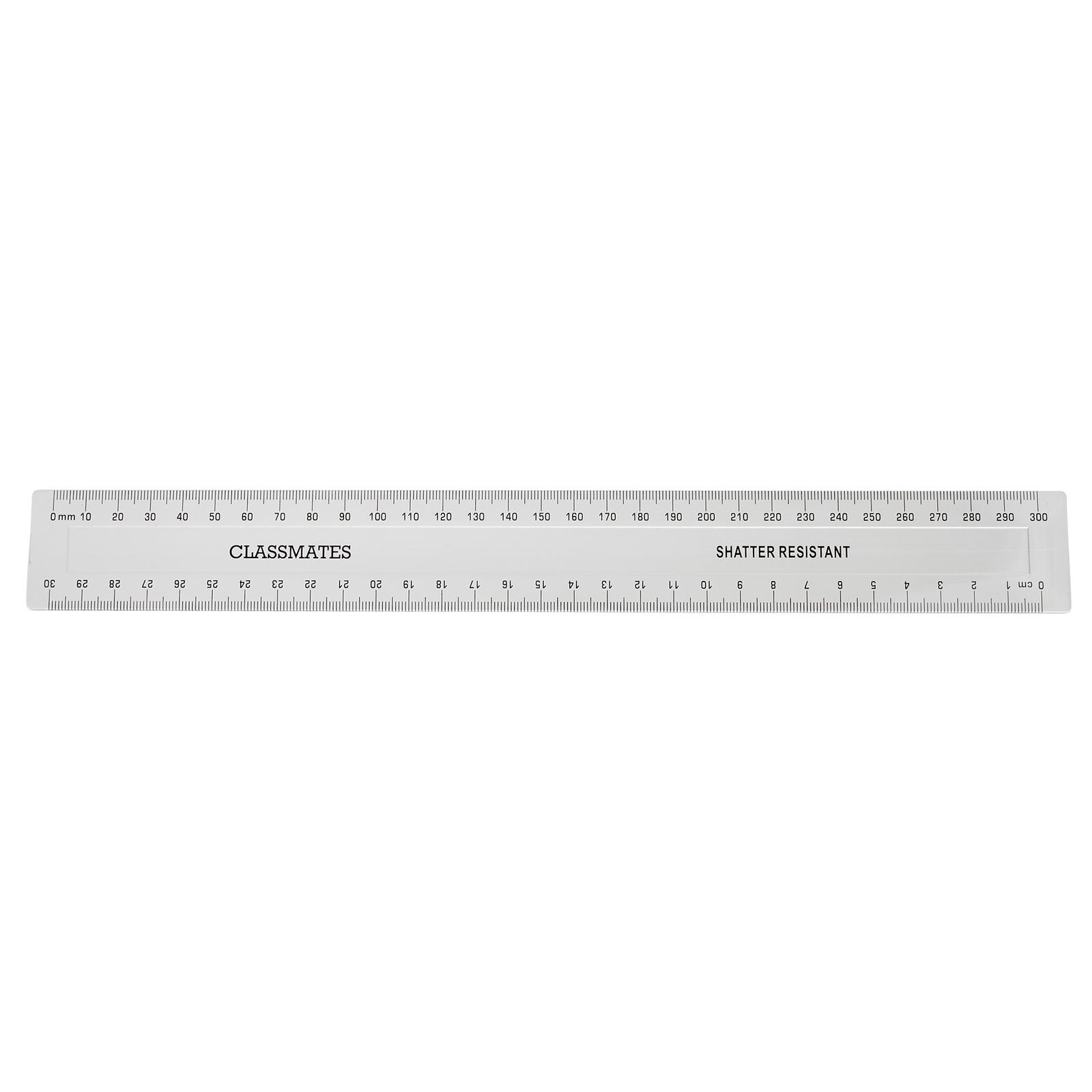 Clmates Shatter Resistant Ruler Transpa 300mm 30cm Pack Of 10 Ten