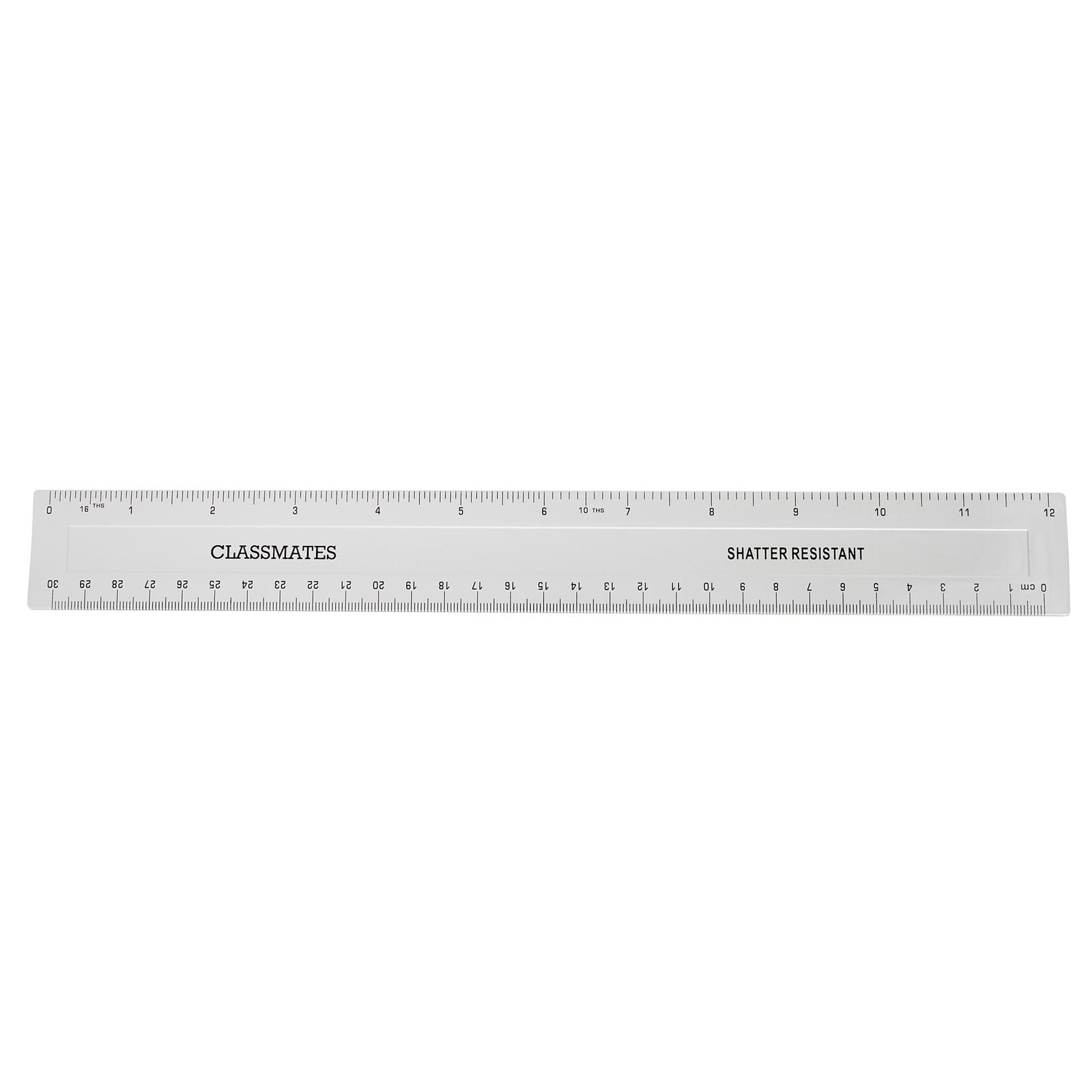 Classmates Shatter Resistant Ruler Transparent 30cm - Pack of 100
