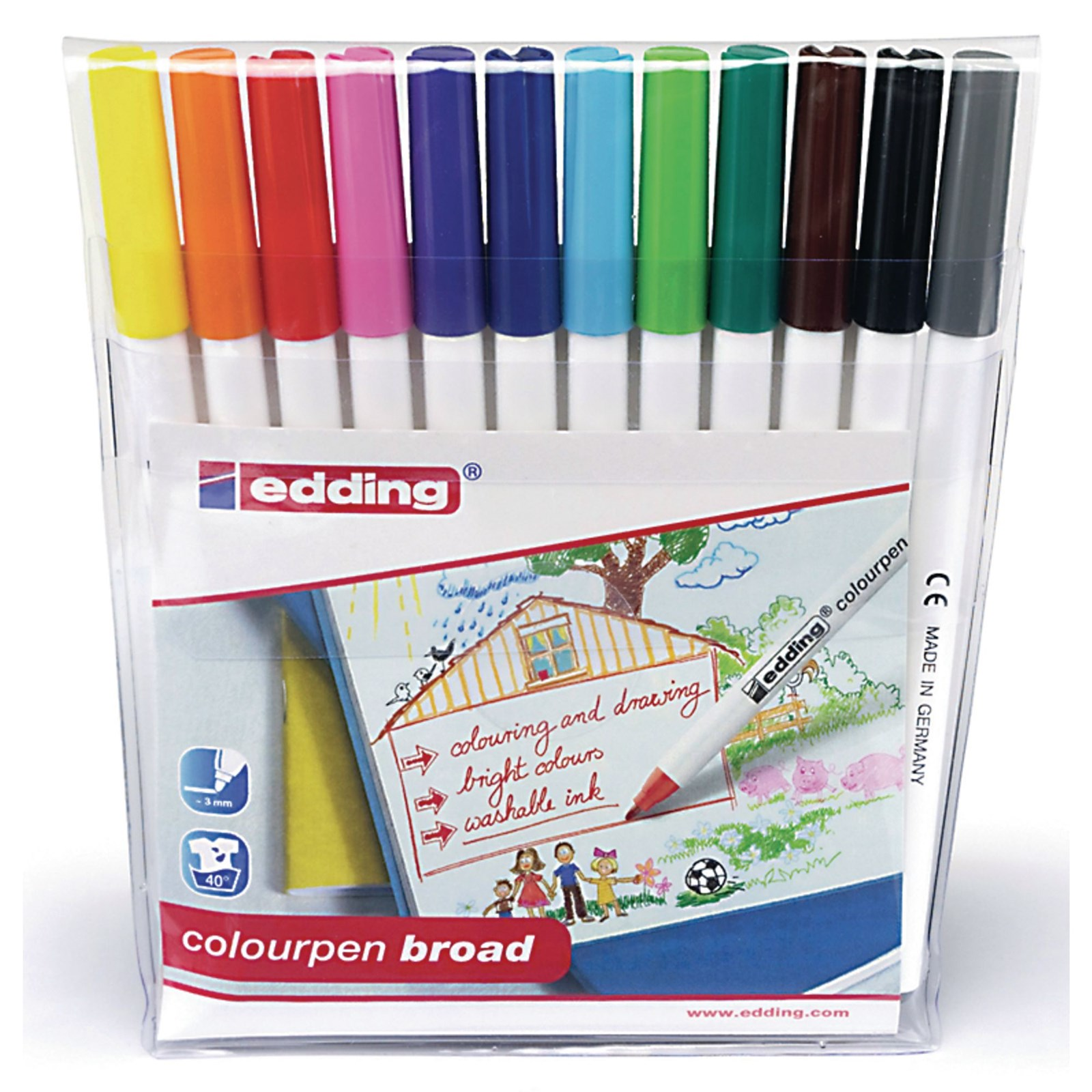 Edding Colourpen Broad - Assorted - Pack of 12