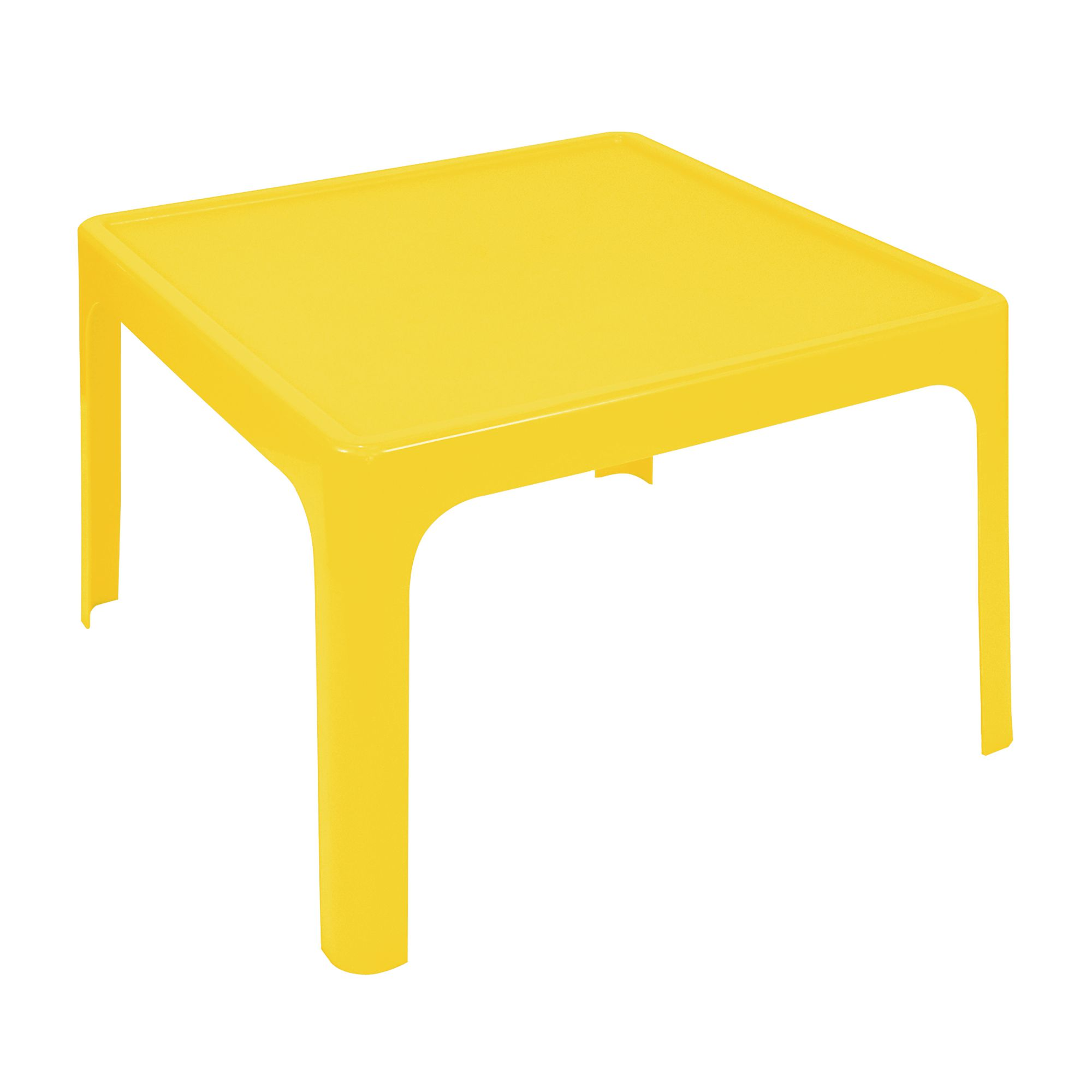 Profile Square Durable Plastic Outdoor Table   720 X 720 X 500mm   Yellow