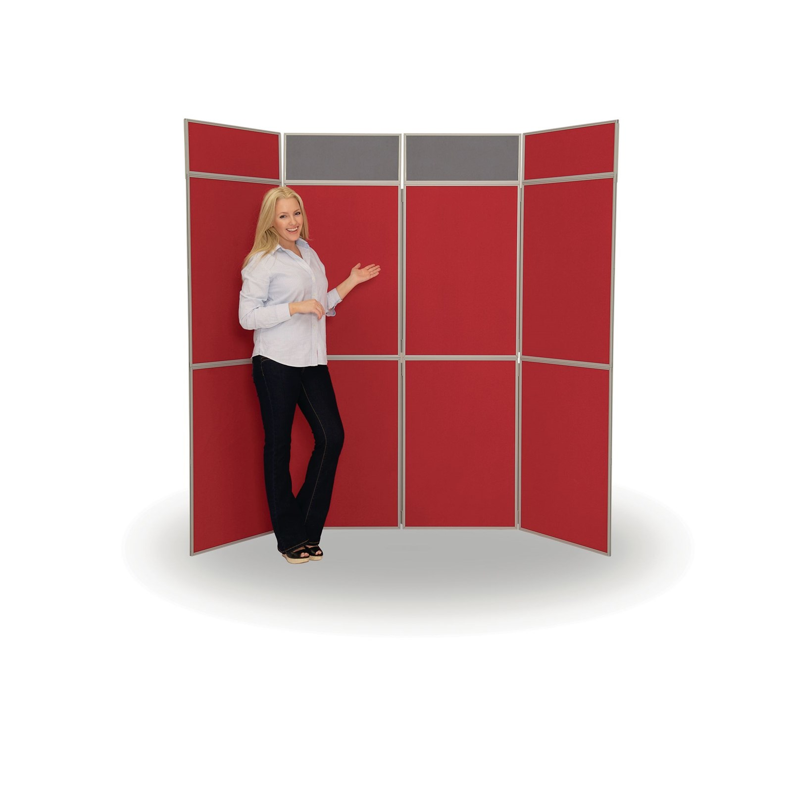 8 Panel Fold-Up Display Screen (with 2 Headers) - Grey