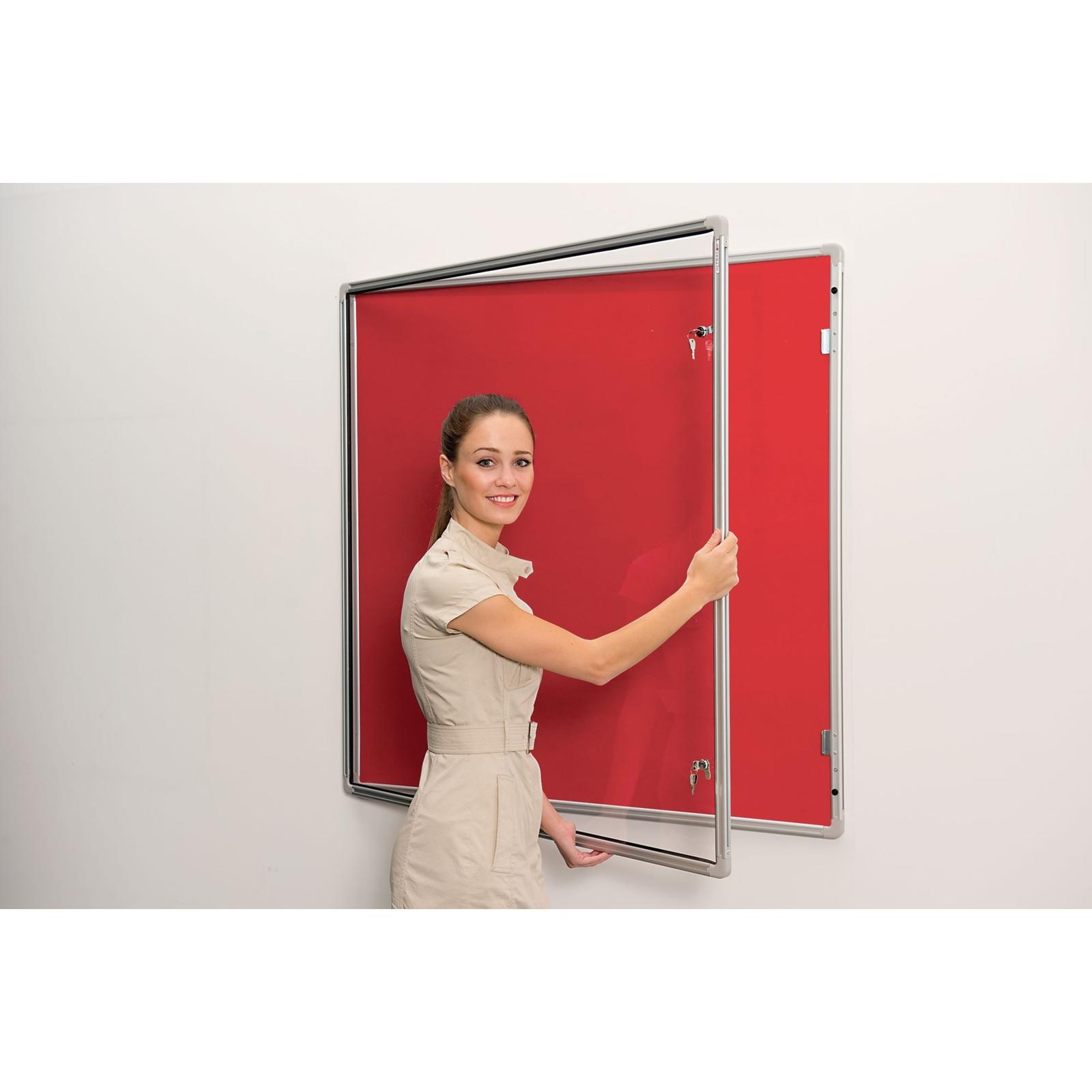 Lockable Aluminium Framed Noticeboards - Grey 12x12