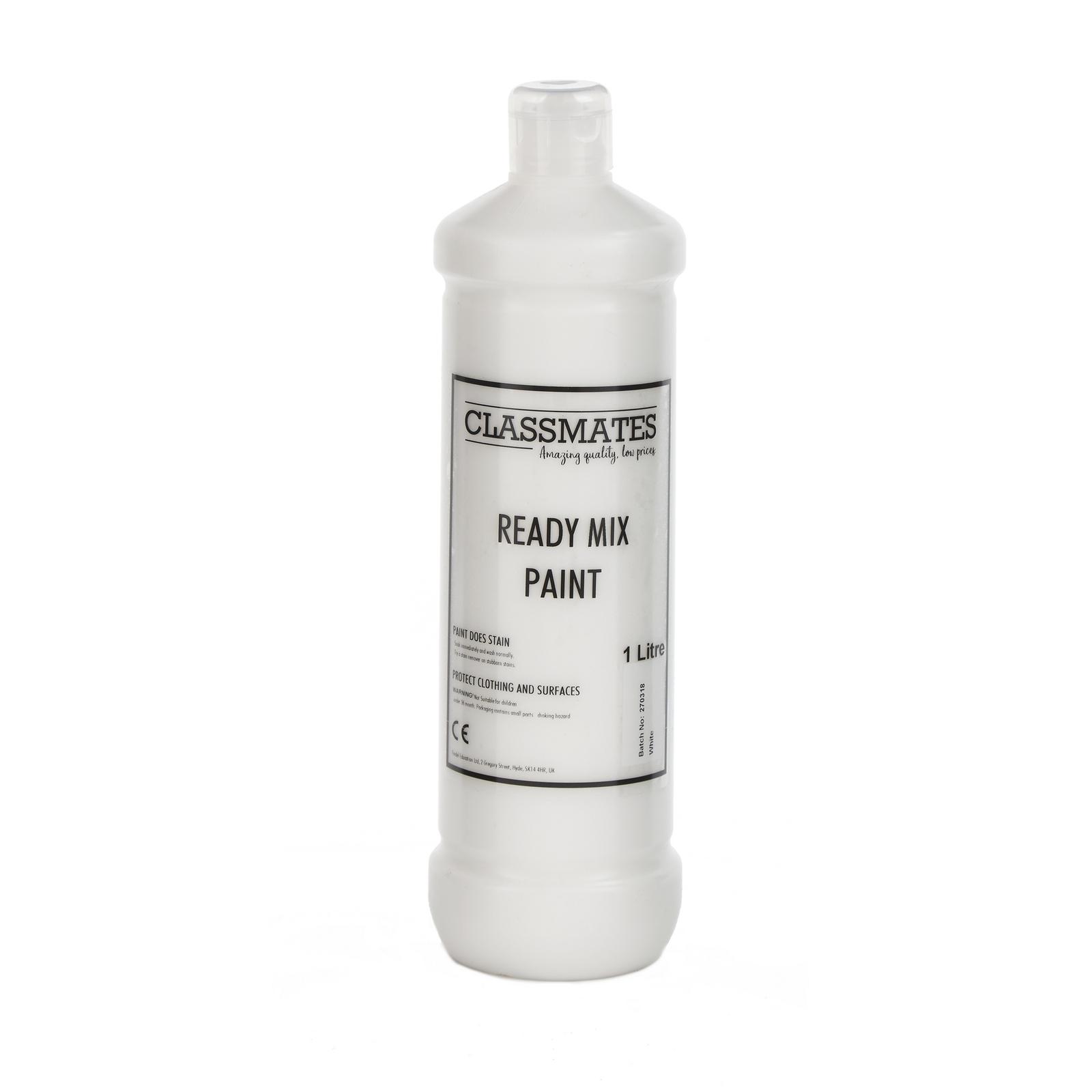 Classmates Ready Mixed Paint in White - 1 Litre Bottle