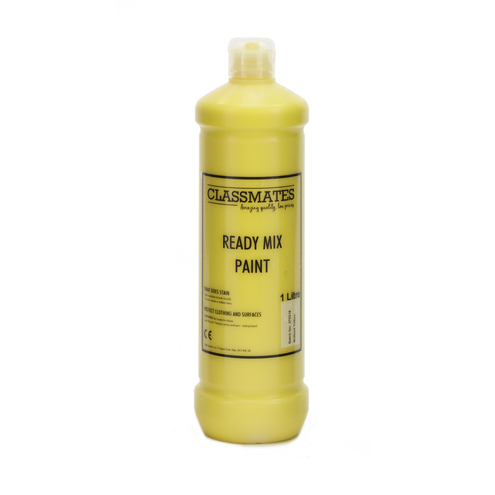 Classmates Ready Mixed Paint in Brilliant Yellow - 1 Litre Bottle