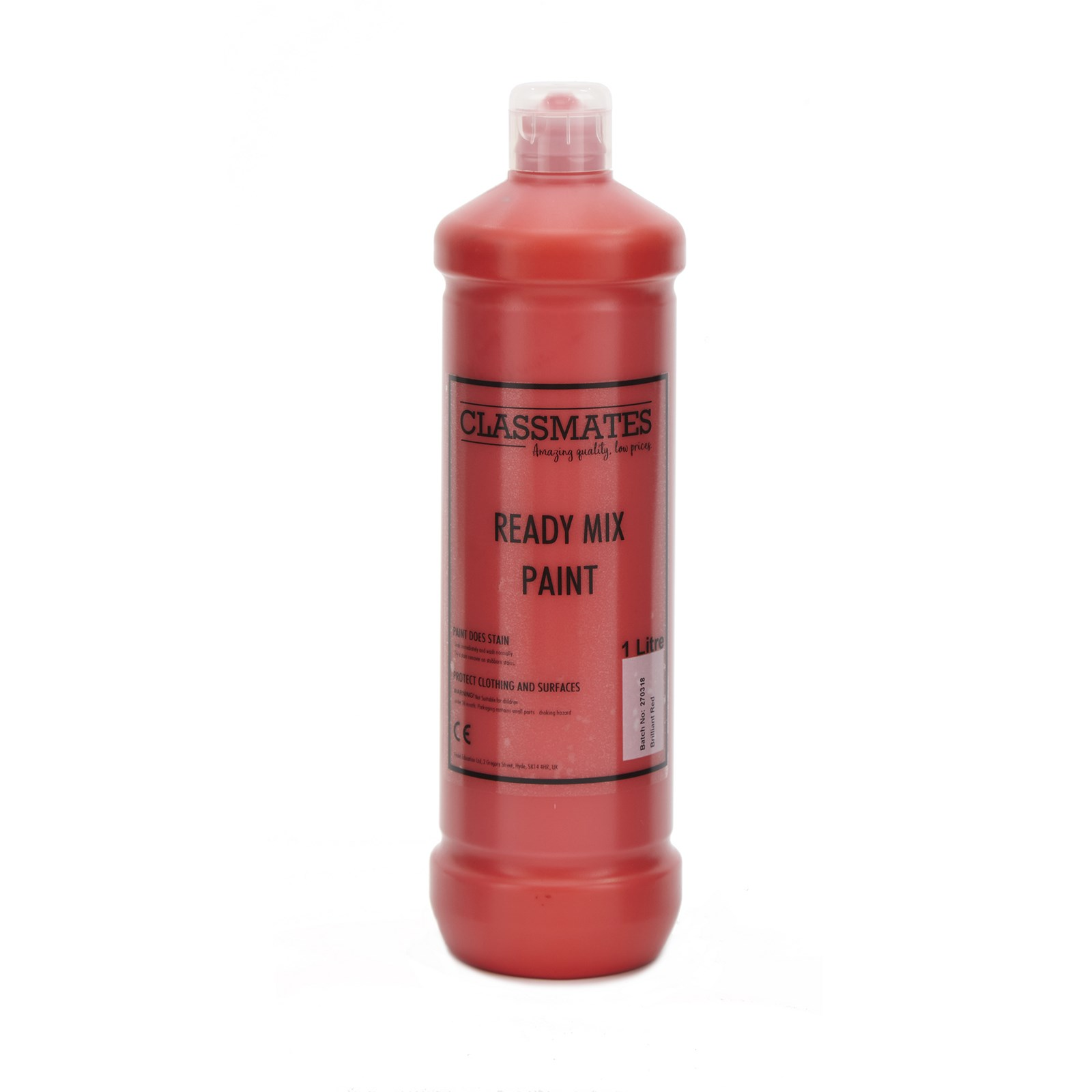 Classmates Ready Mixed Paint in Brilliant Red - 1 Litre Bottle
