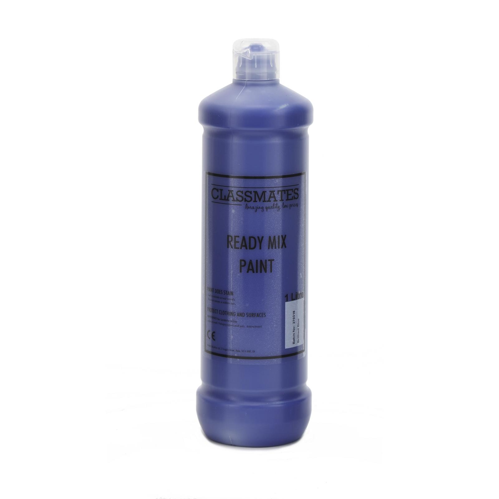 Classmates Ready Mixed Paint in Brilliant Blue - 1 Litre Bottle