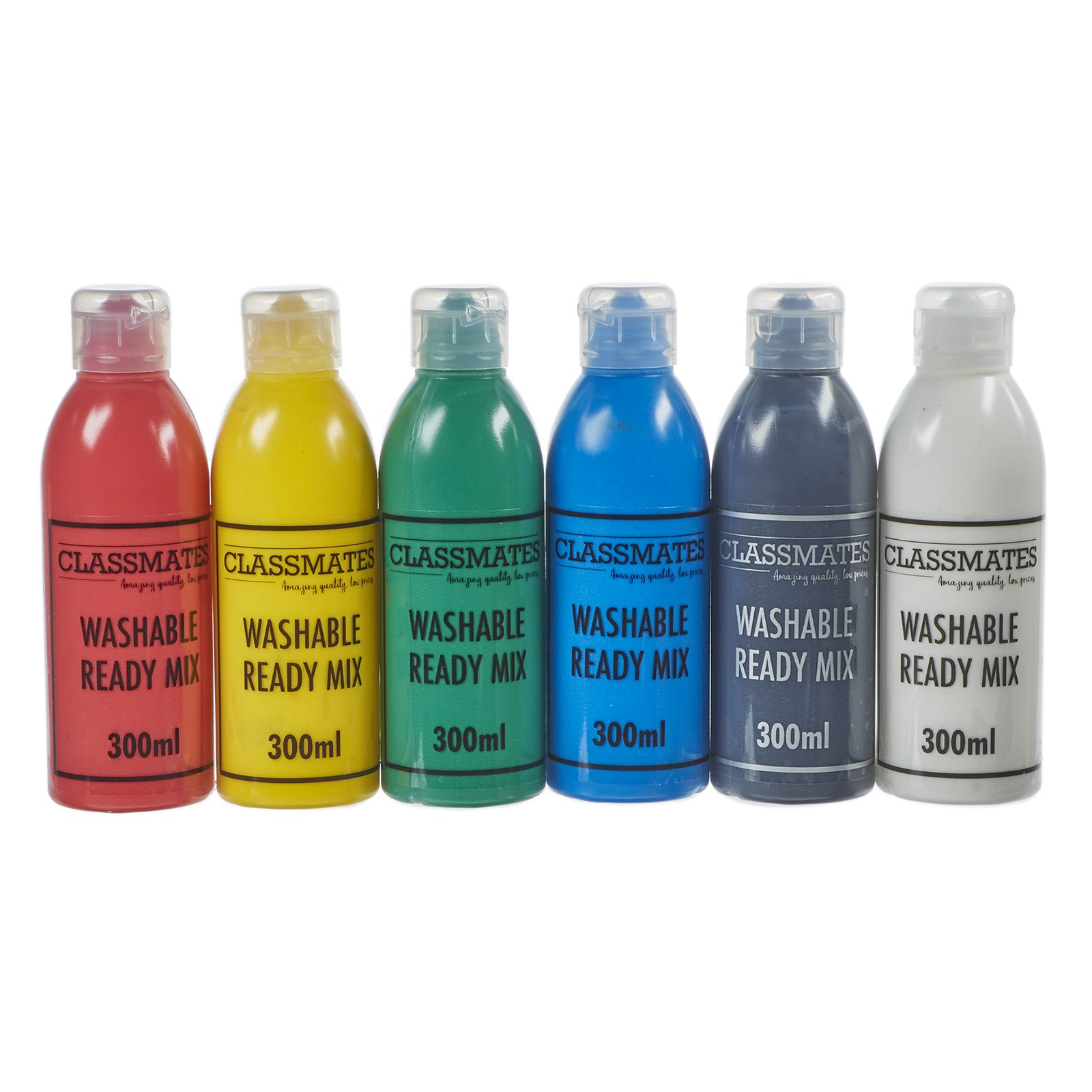 Classmates Washable Ready Mixed Paint in Assorted - Pack of 6 - 300ml Bottle