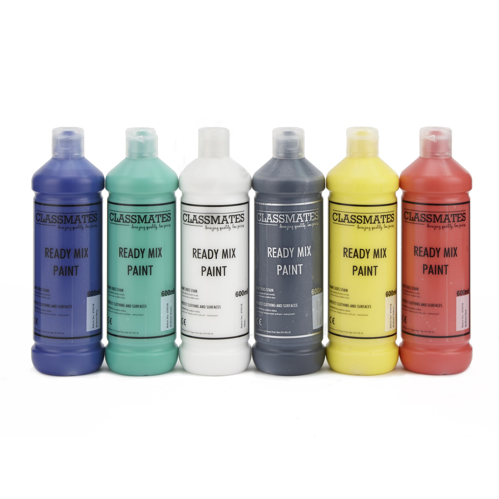 Classmates Ready Mixed Paint in Assorted - Pack of 6 - 600ml Bottle