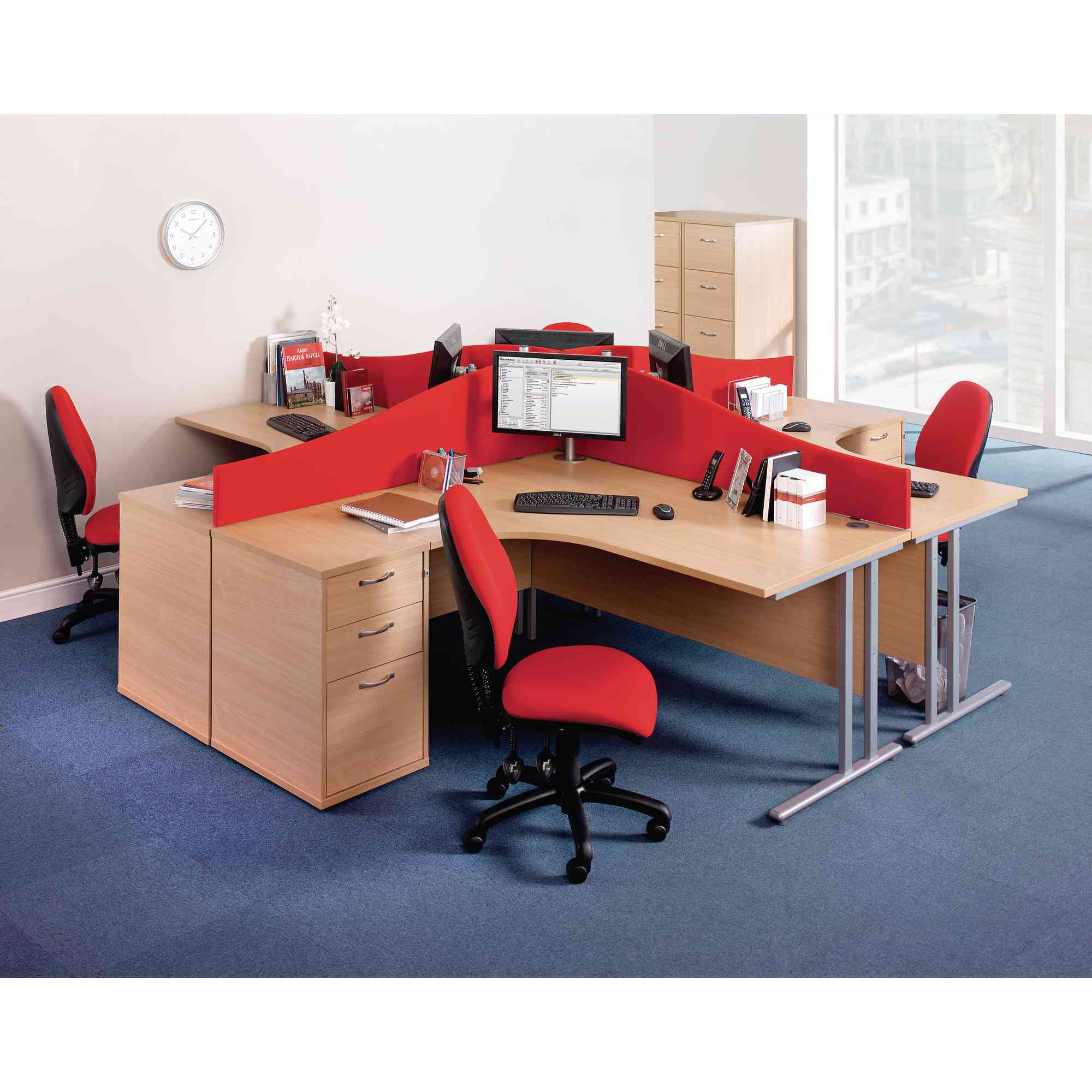 Desk Mounted Screens W1400mm Blue Gls Educational