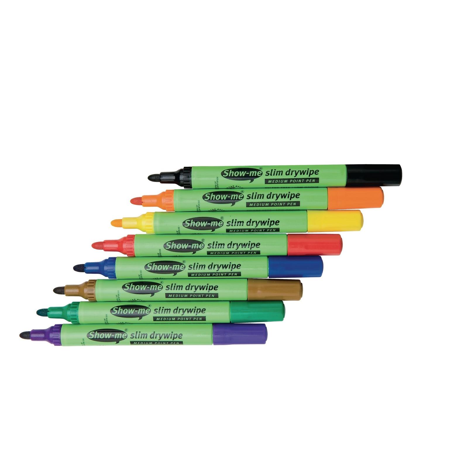 Show-me Whiteboard Marker Pens Assorted, Bullet Tip - Pack of 50