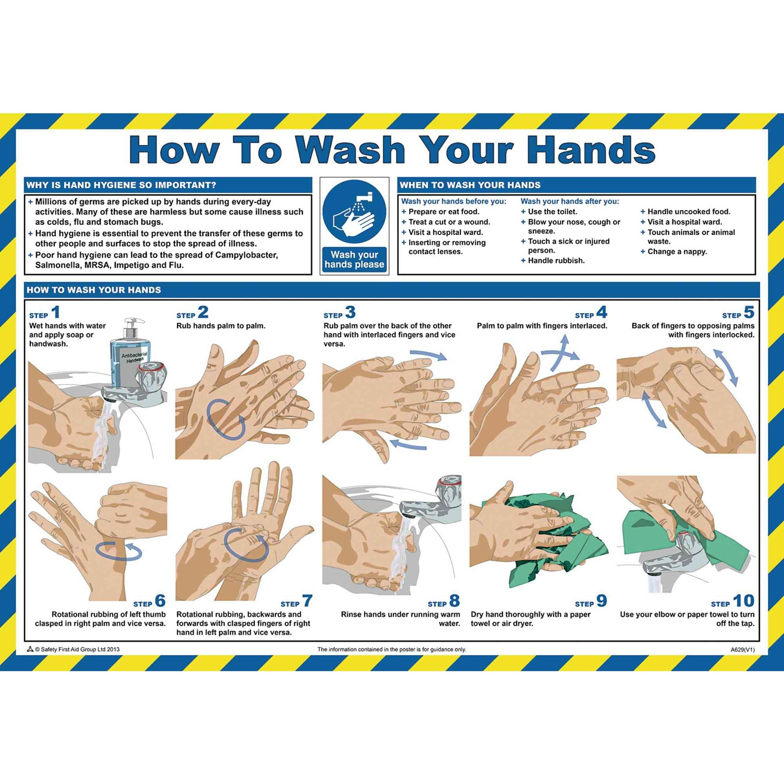 Hand Washing Guidance Poster 590 x 420mm