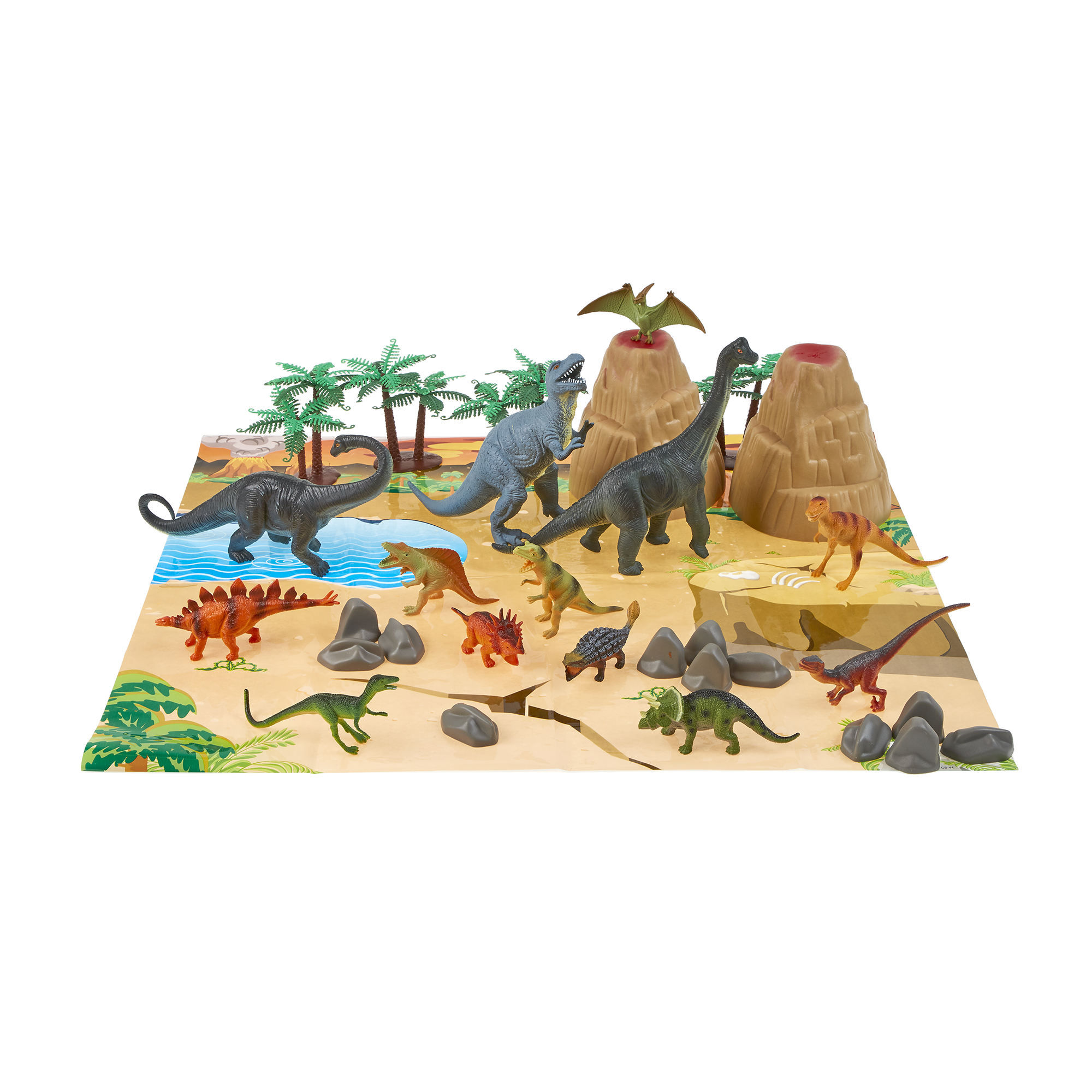 18 Toy Dinosaurs In Tub With Dinosaur Playmat Animals & Dinosaurs