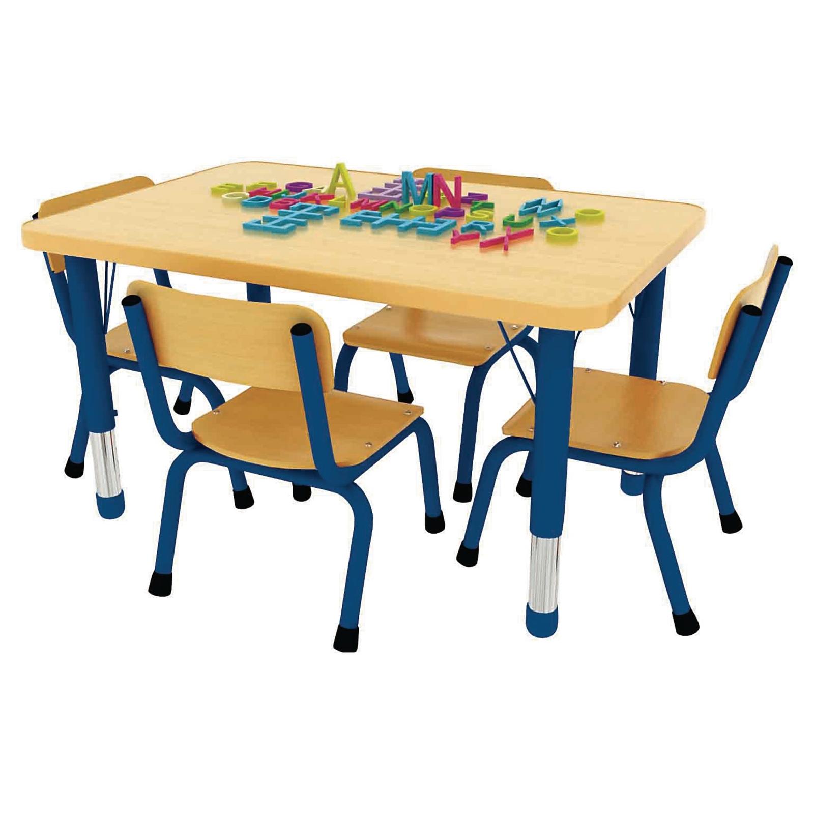 Milan Rectangular48mm Tubular Classroom Table - 900x600x370 to 620mm - Red