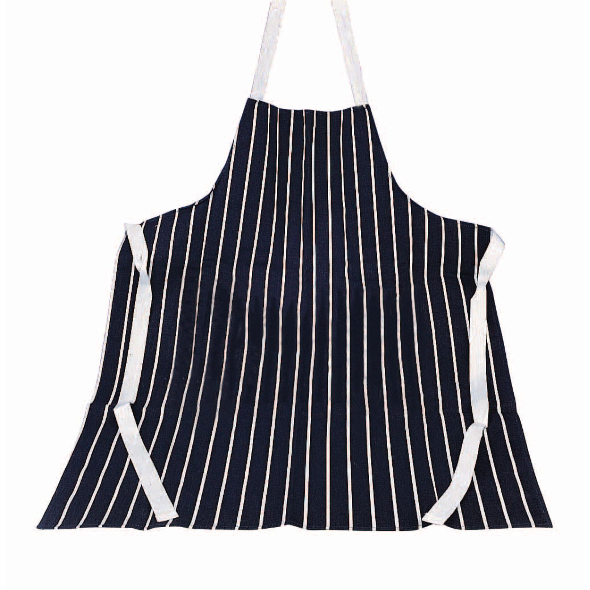 Cotton Drill Apron Navy White 61x81cm