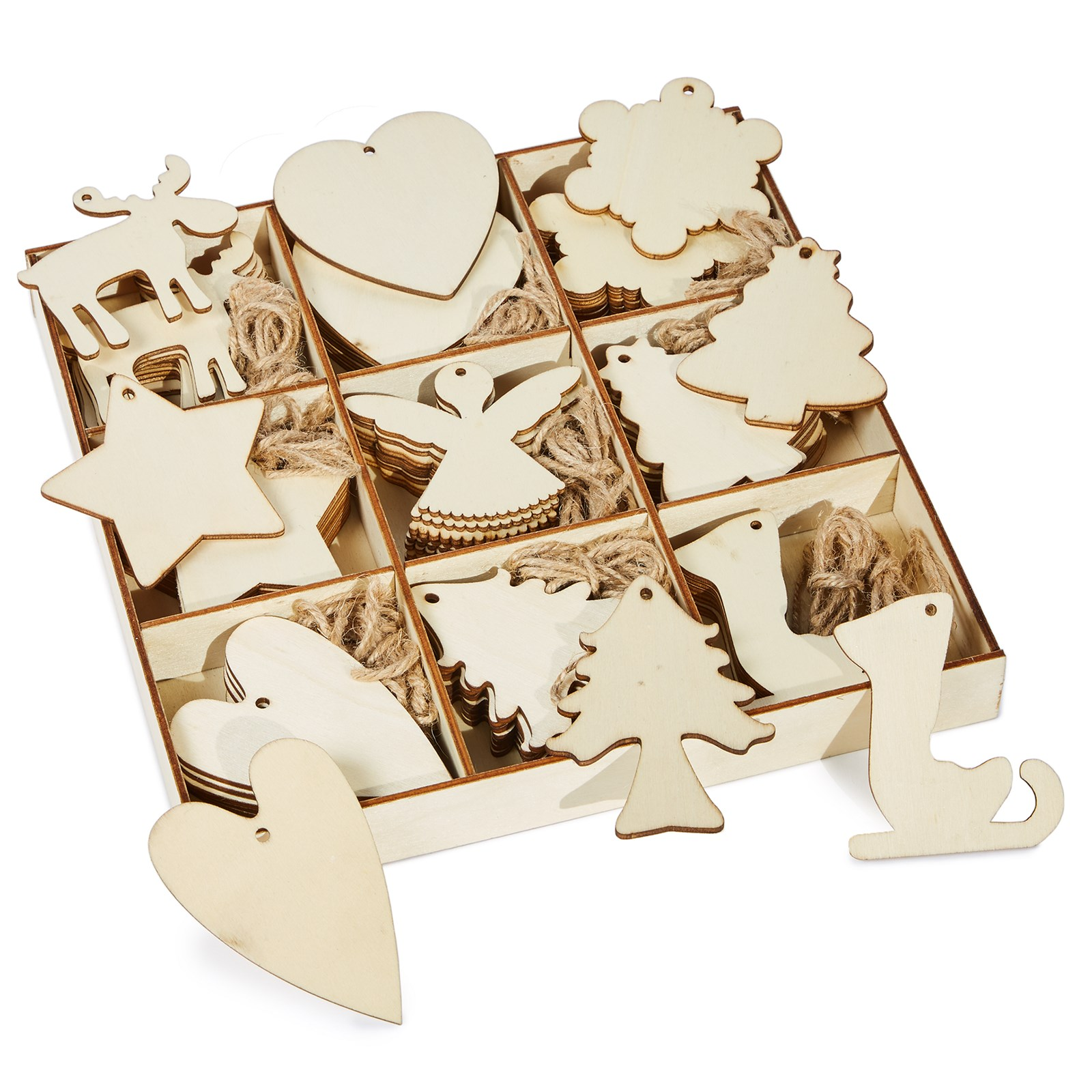 Christmas Wooden Decoration Pack of 72