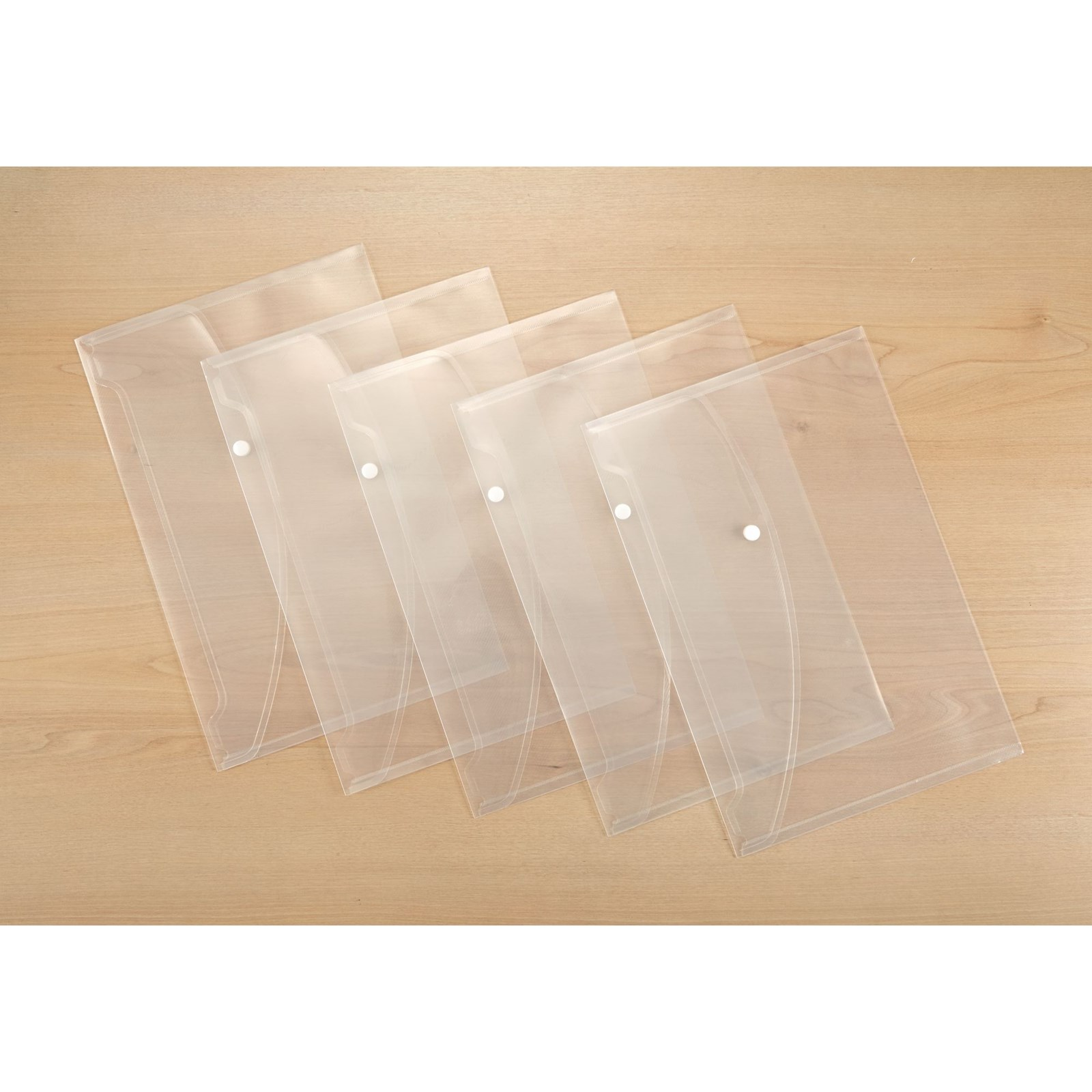 Classmates Popper Wallet Foolscap Clear - Pack of 5