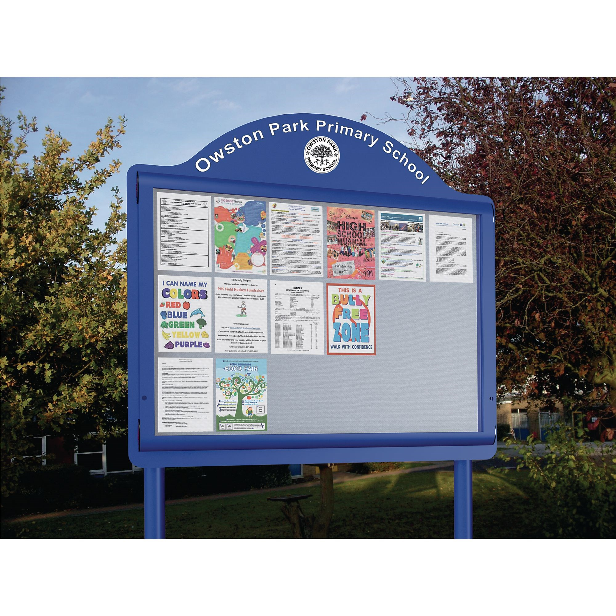 Weathershield Freestanding Contour Signage with Surface Mountings Post Landscape110wX140h Green/Blue-8XA4L