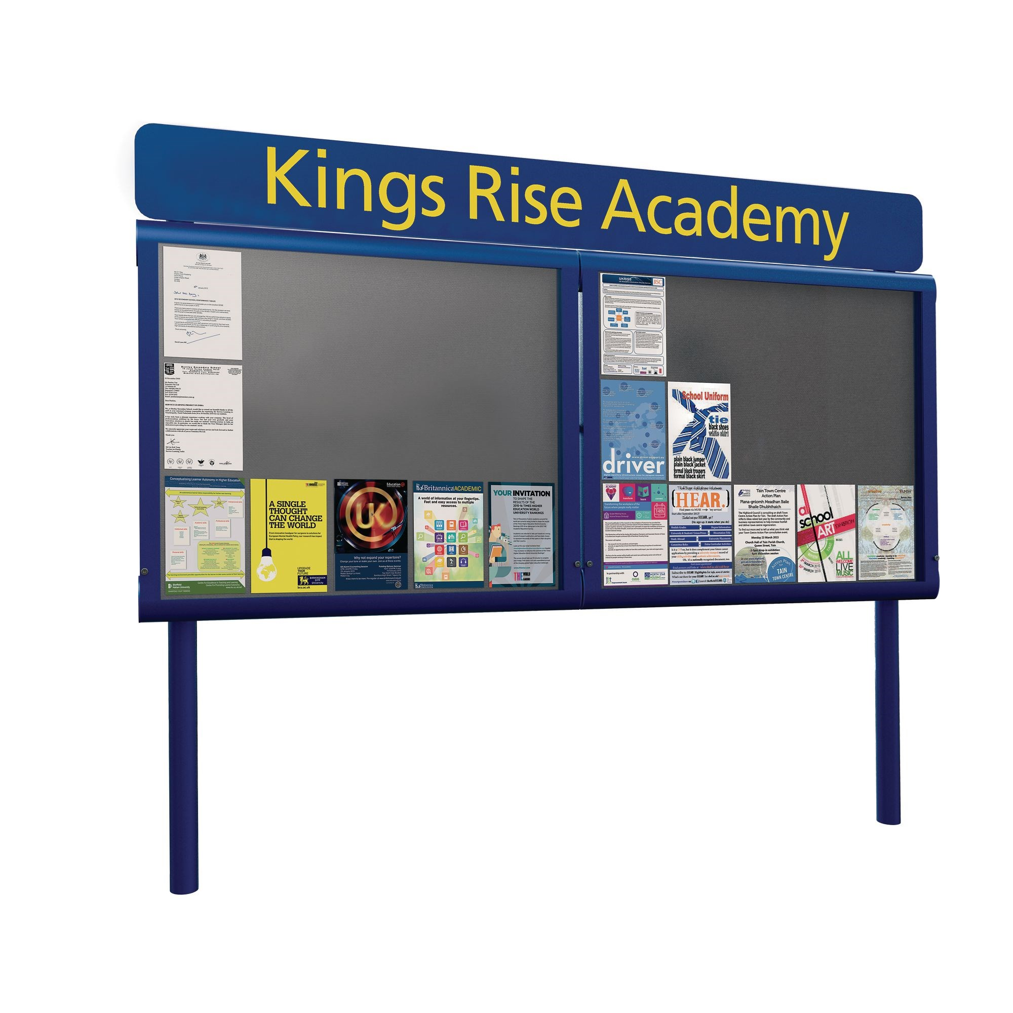 Weathershield Freestanding Headline Signage With Surface Mounting Posts Doubledoor 157wX103.1h White/Green-18XA4L