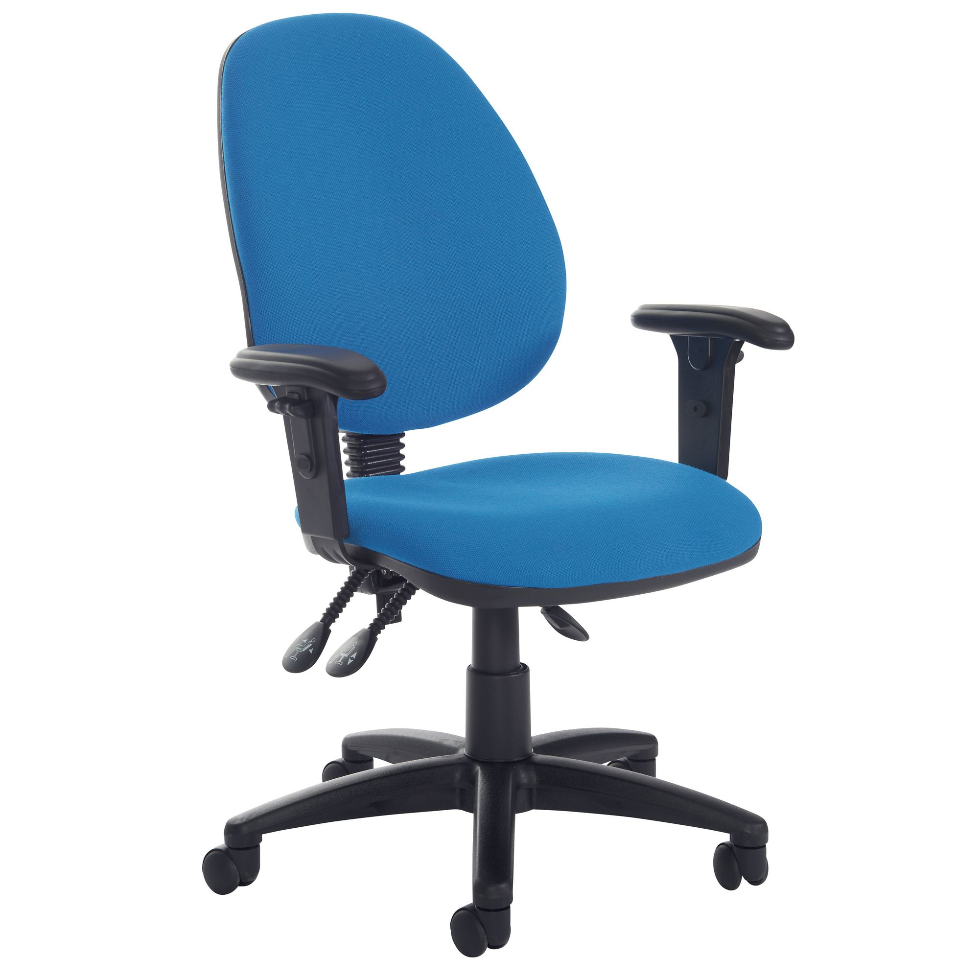 High Back Operator Chair Adjustable Arms Blue GLS